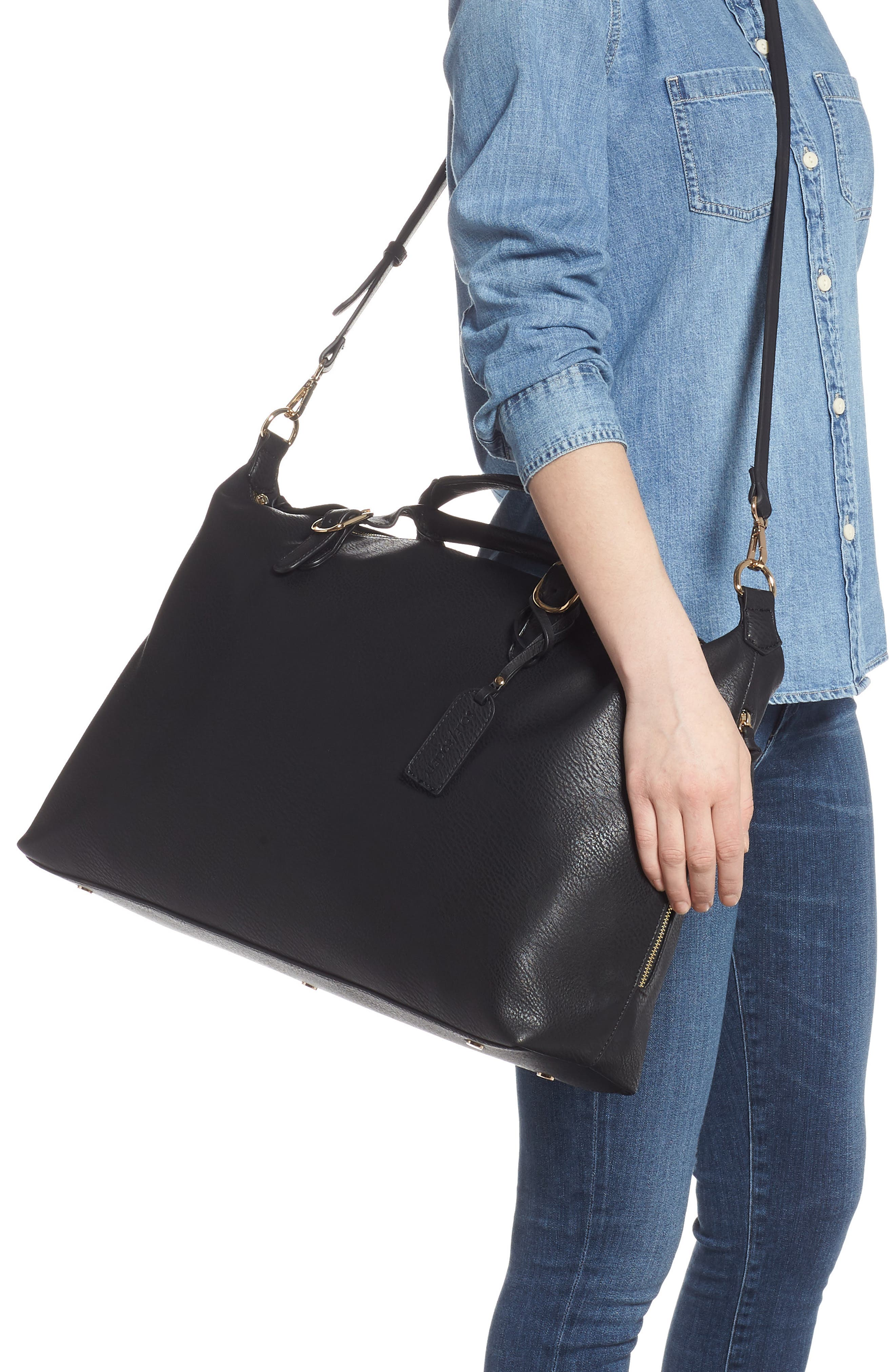 SOLE SOCIETY, Grant Faux Leather Weekend Bag, Alternate thumbnail 2, color, BLACK