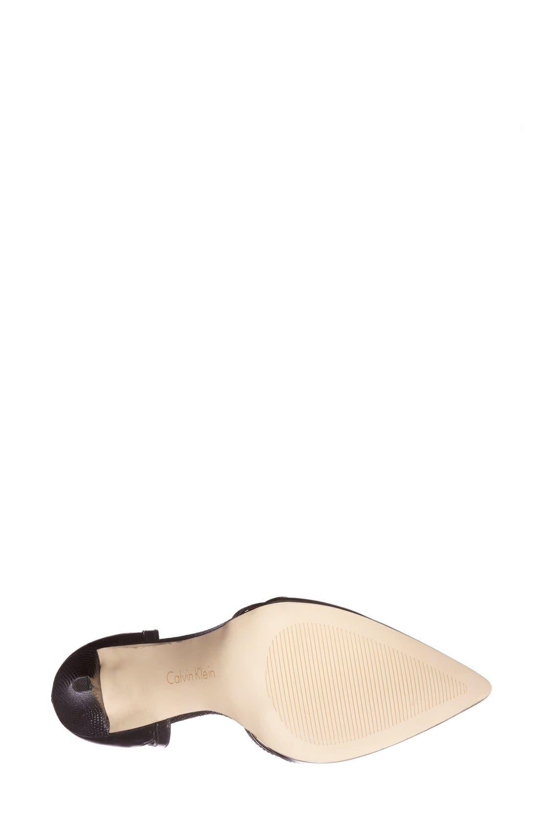 CALVIN KLEIN, 'Gilia' Cutout Leather d'Orsay Pump, Alternate thumbnail 3, color, 001