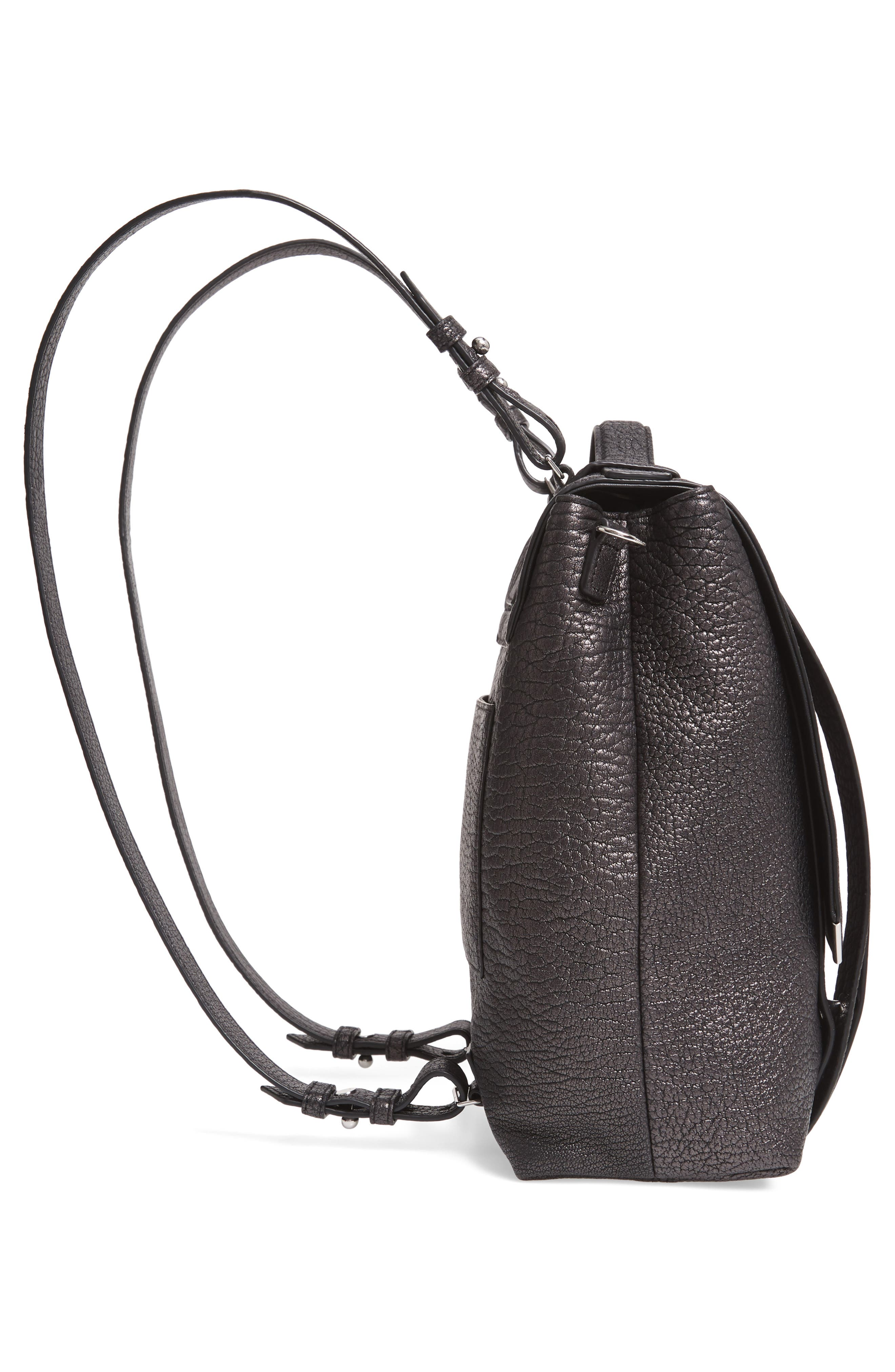 ALLSAINTS, Vincent Leather Backpack, Alternate thumbnail 7, color, 022