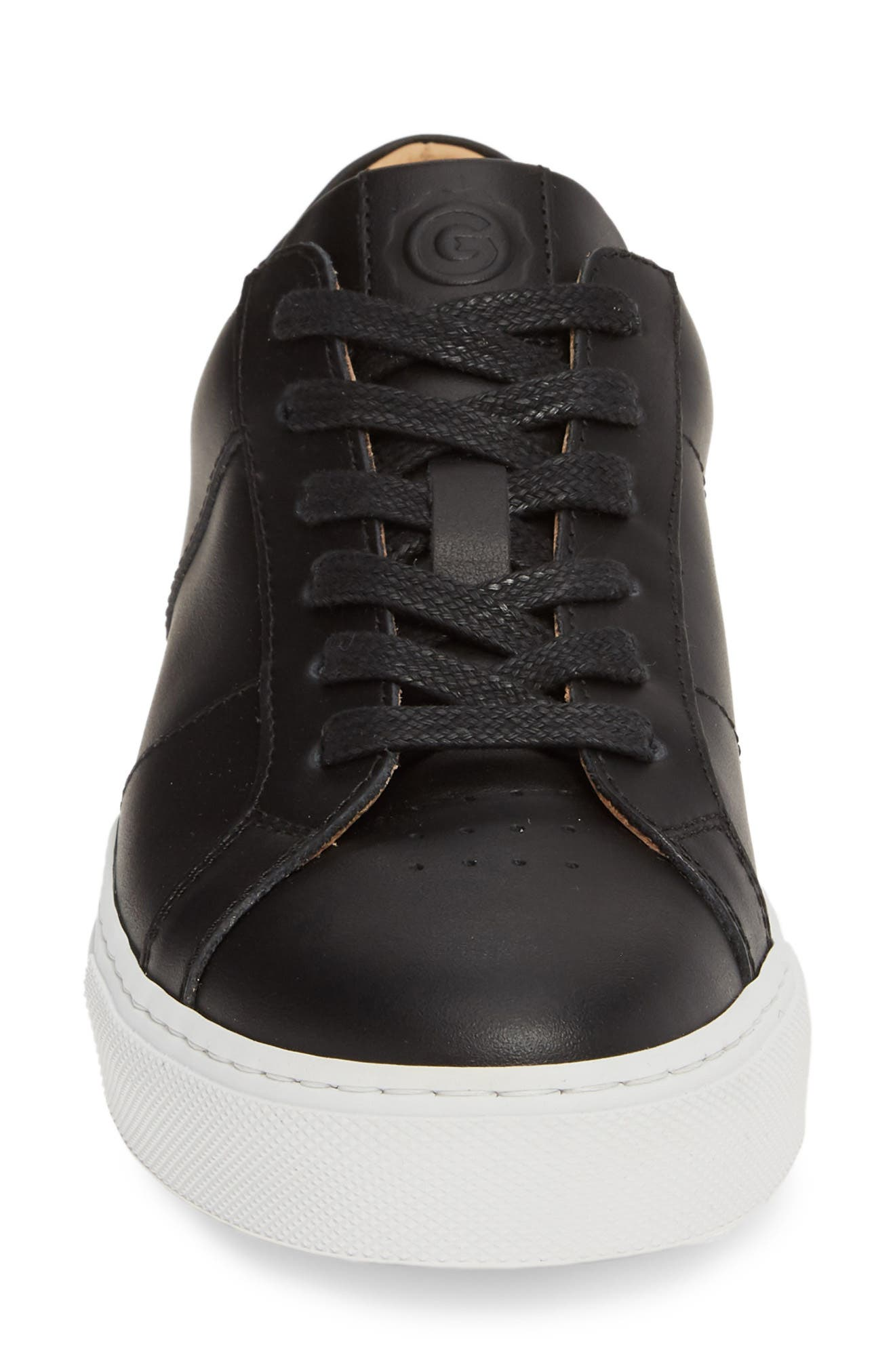 GREATS, Royale Low Top Sneaker, Alternate thumbnail 4, color, BLACK LEATHER