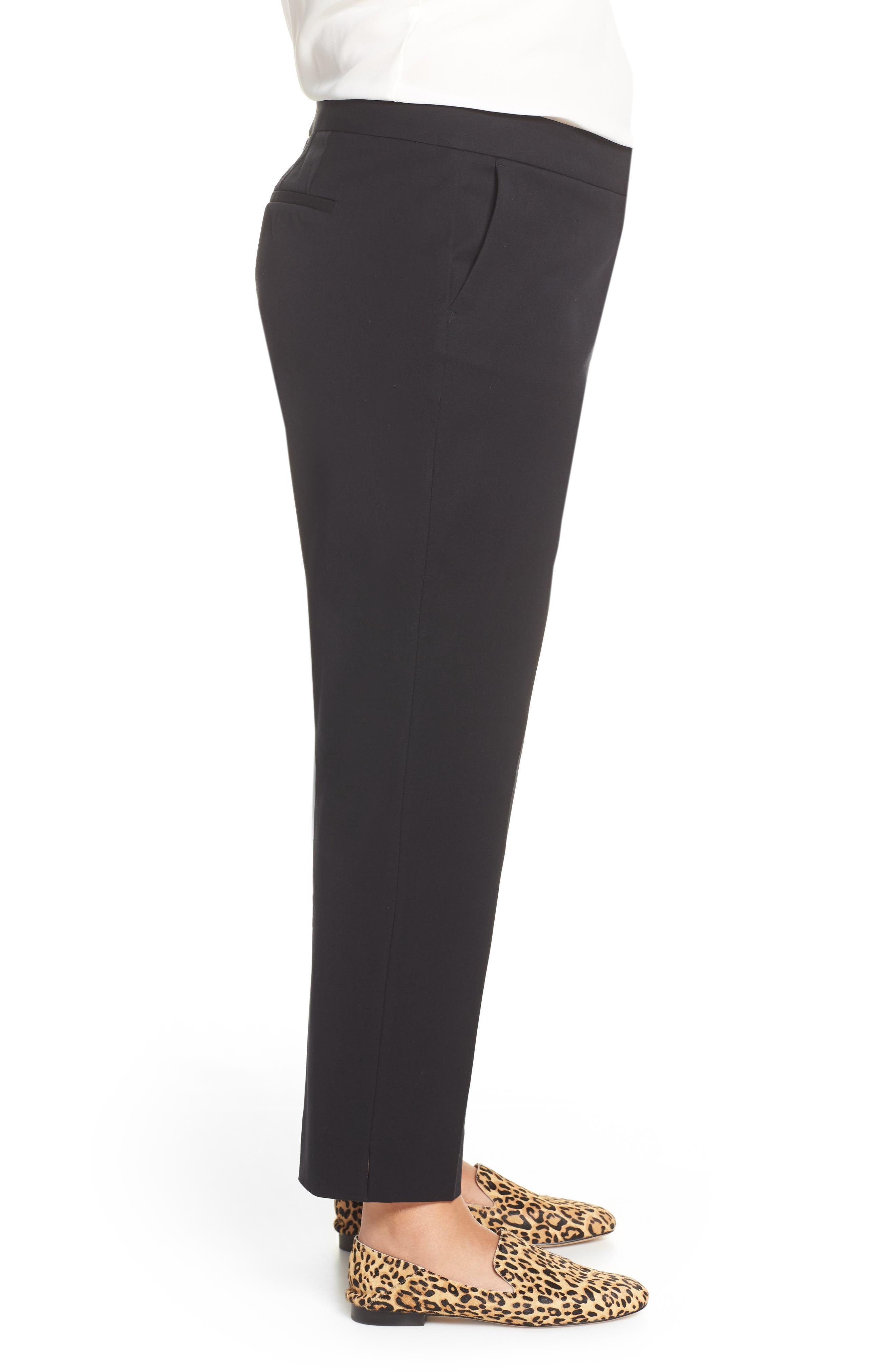 SEJOUR, Straight Leg Ankle Pants, Alternate thumbnail 5, color, BLACK