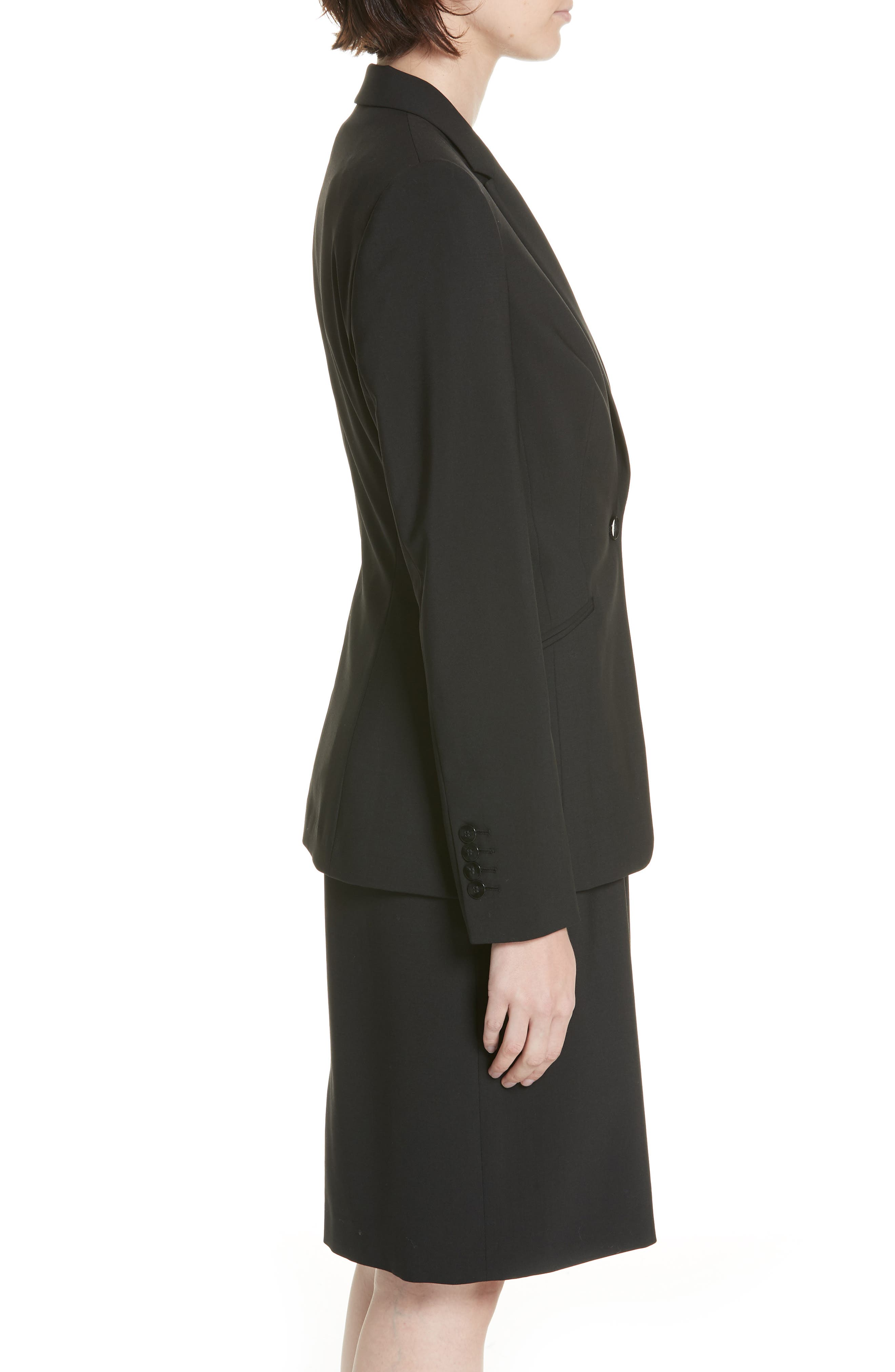 BOSS, Jabina Tropical Stretch Wool Jacket, Alternate thumbnail 4, color, BLACK