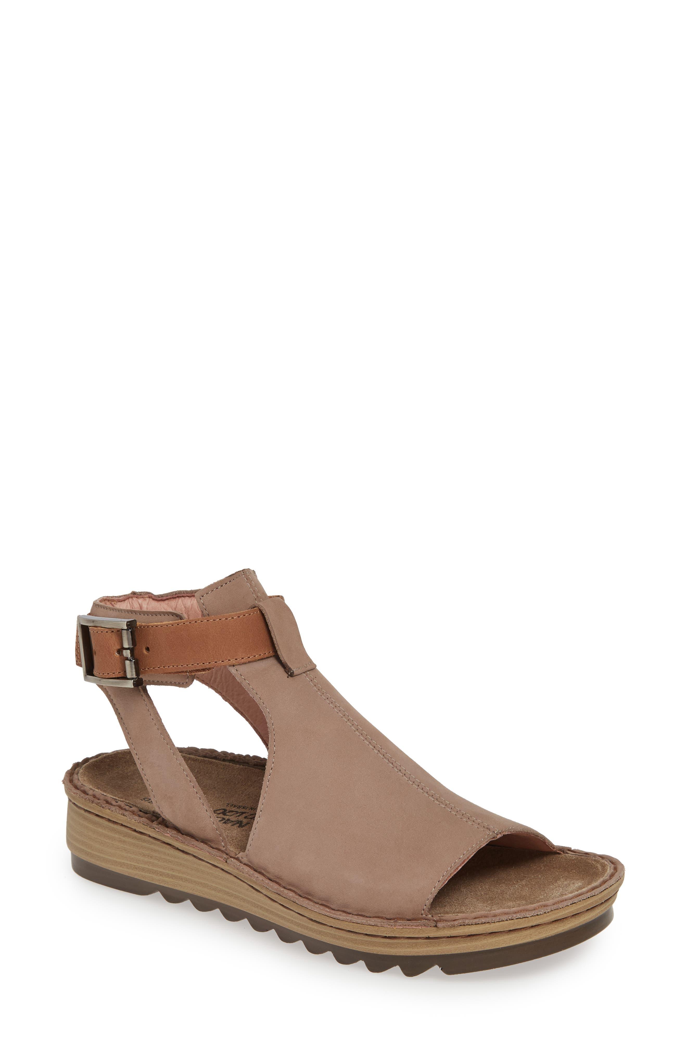 NAOT Verbena Sandal, Main, color, STONE/ LATTE NUBUCK LEATHER