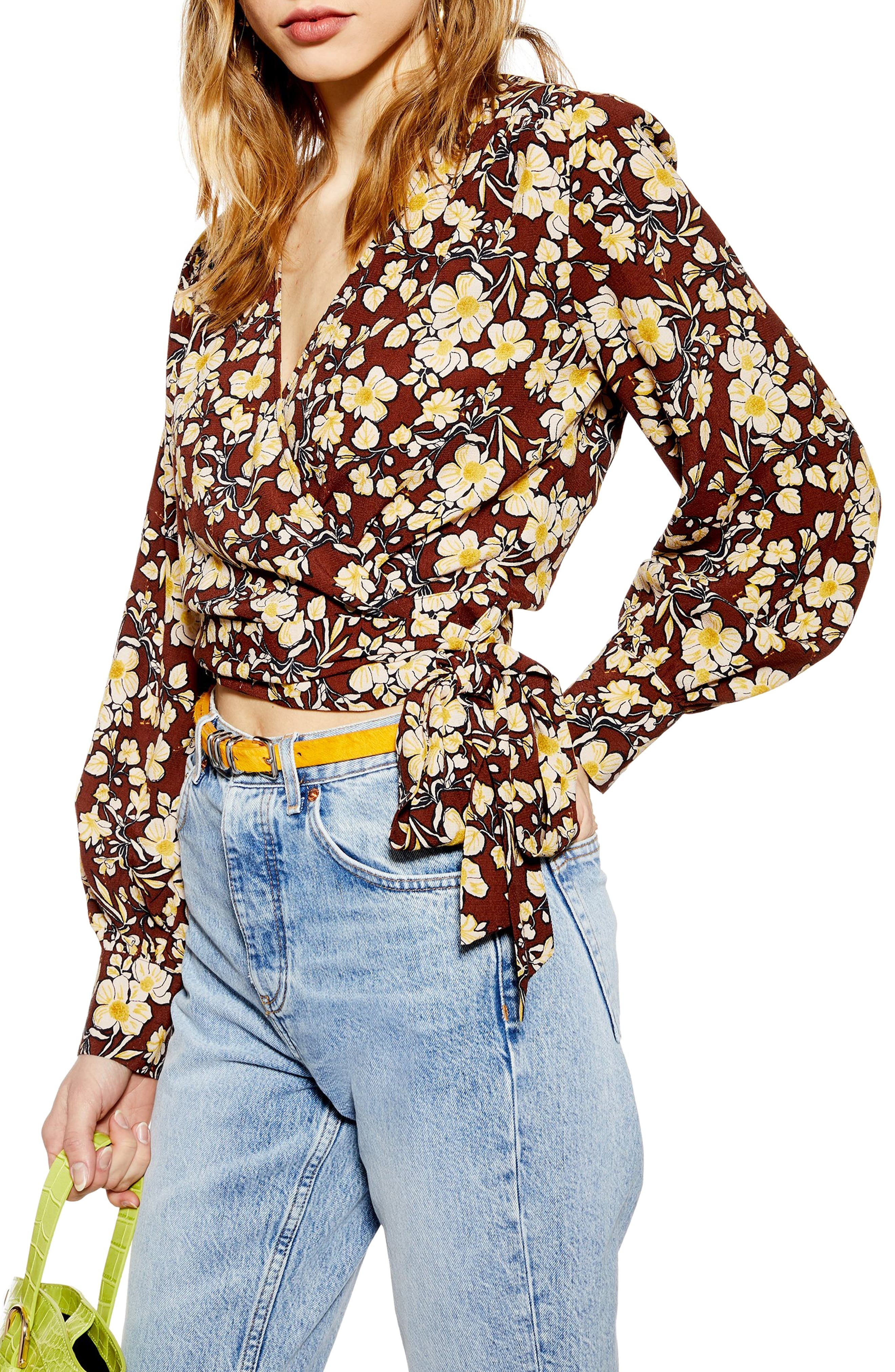 TOPSHOP, Floral Wrap Crop Blouse, Main thumbnail 1, color, BROWN MULTI