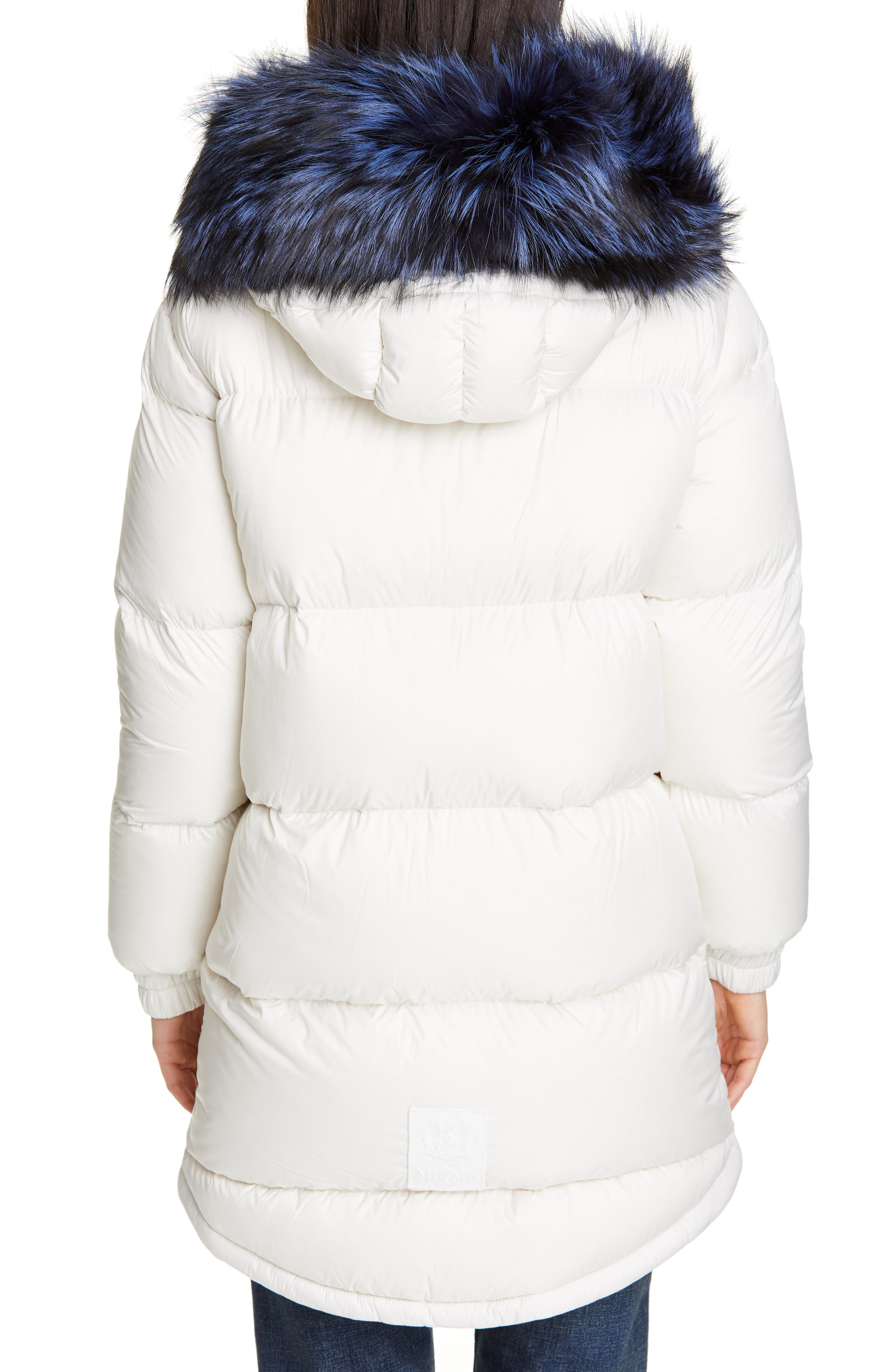 MR & MRS ITALY, Reversible Waterproof Down Parka with Removable Genuine Fox Fur Trim, Alternate thumbnail 3, color, WHITE / RED