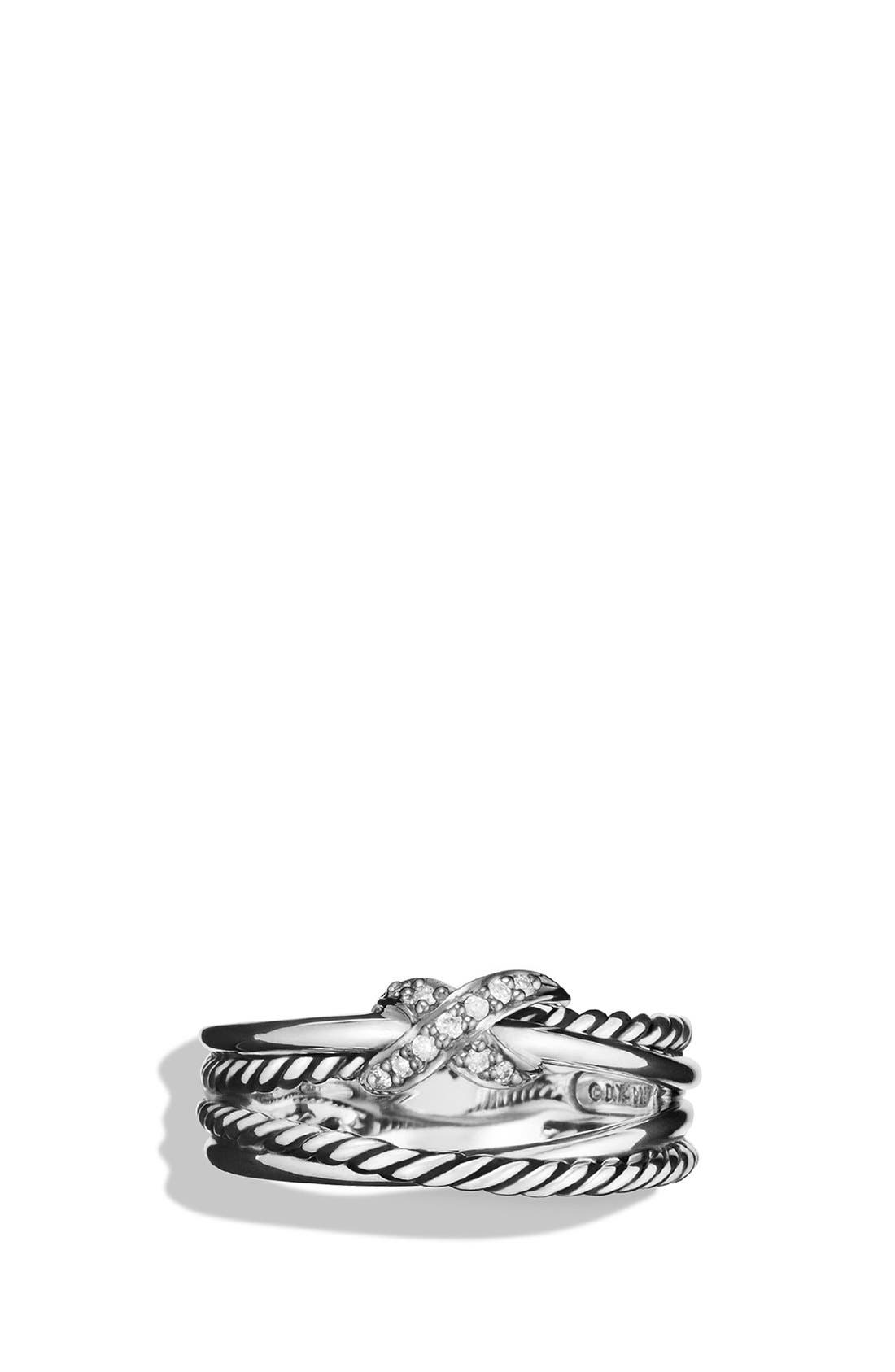 DAVID YURMAN, 'X Crossover' Ring with Diamonds, Alternate thumbnail 6, color, DIAMOND