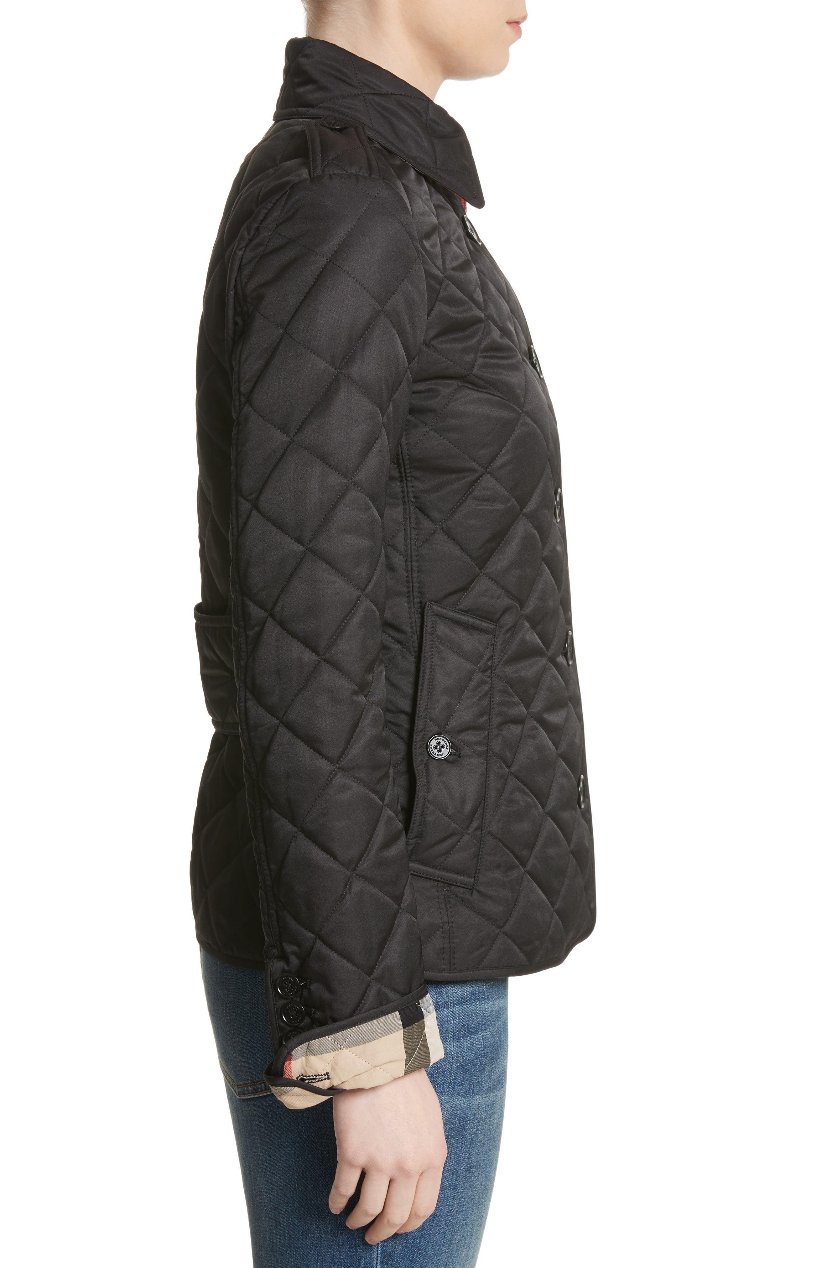 BURBERRY, Frankby Quilted Jacket, Alternate thumbnail 3, color, 001