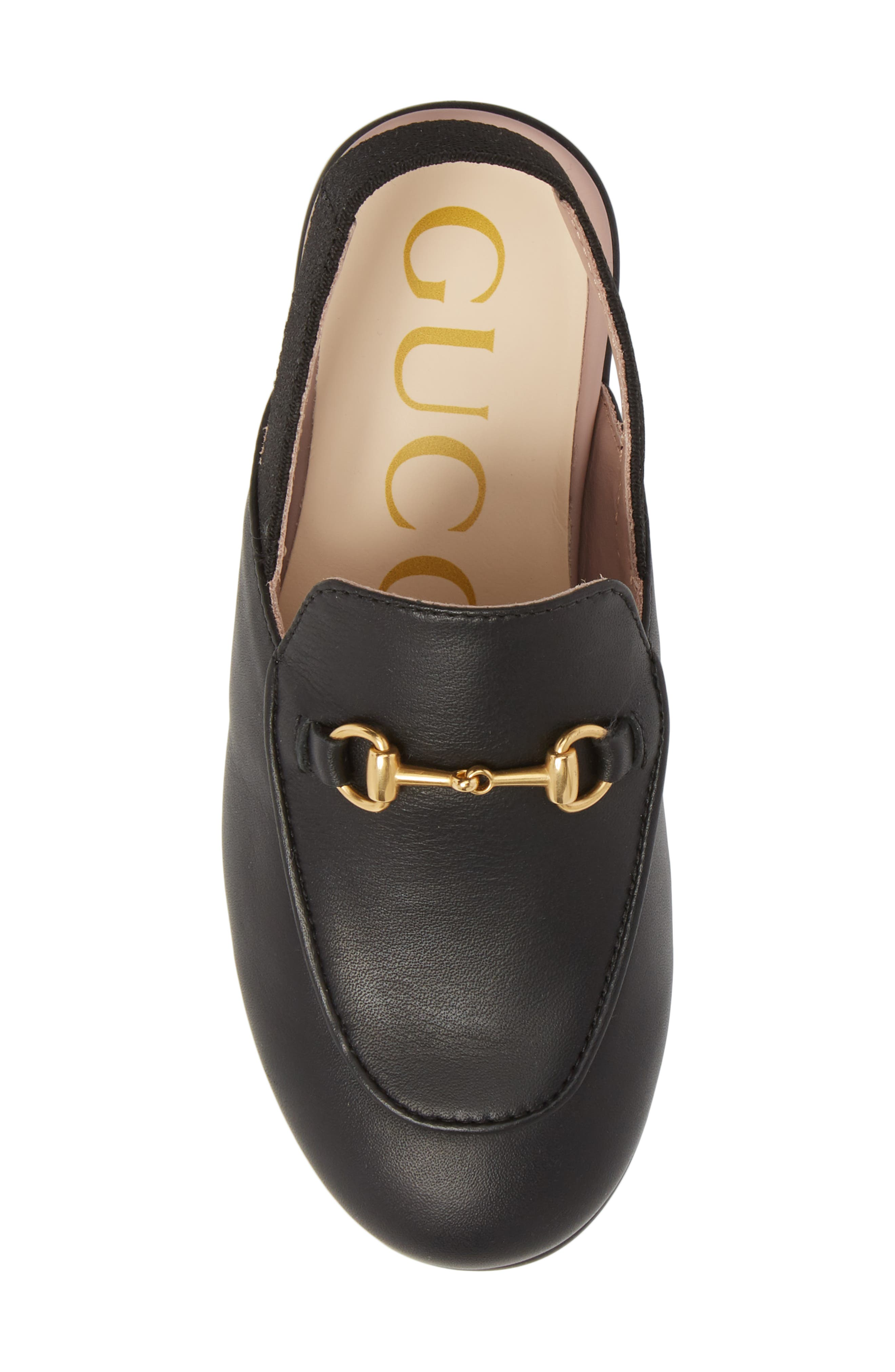 GUCCI, Princetown Loafer Mule, Alternate thumbnail 5, color, BLACK/ BLACK
