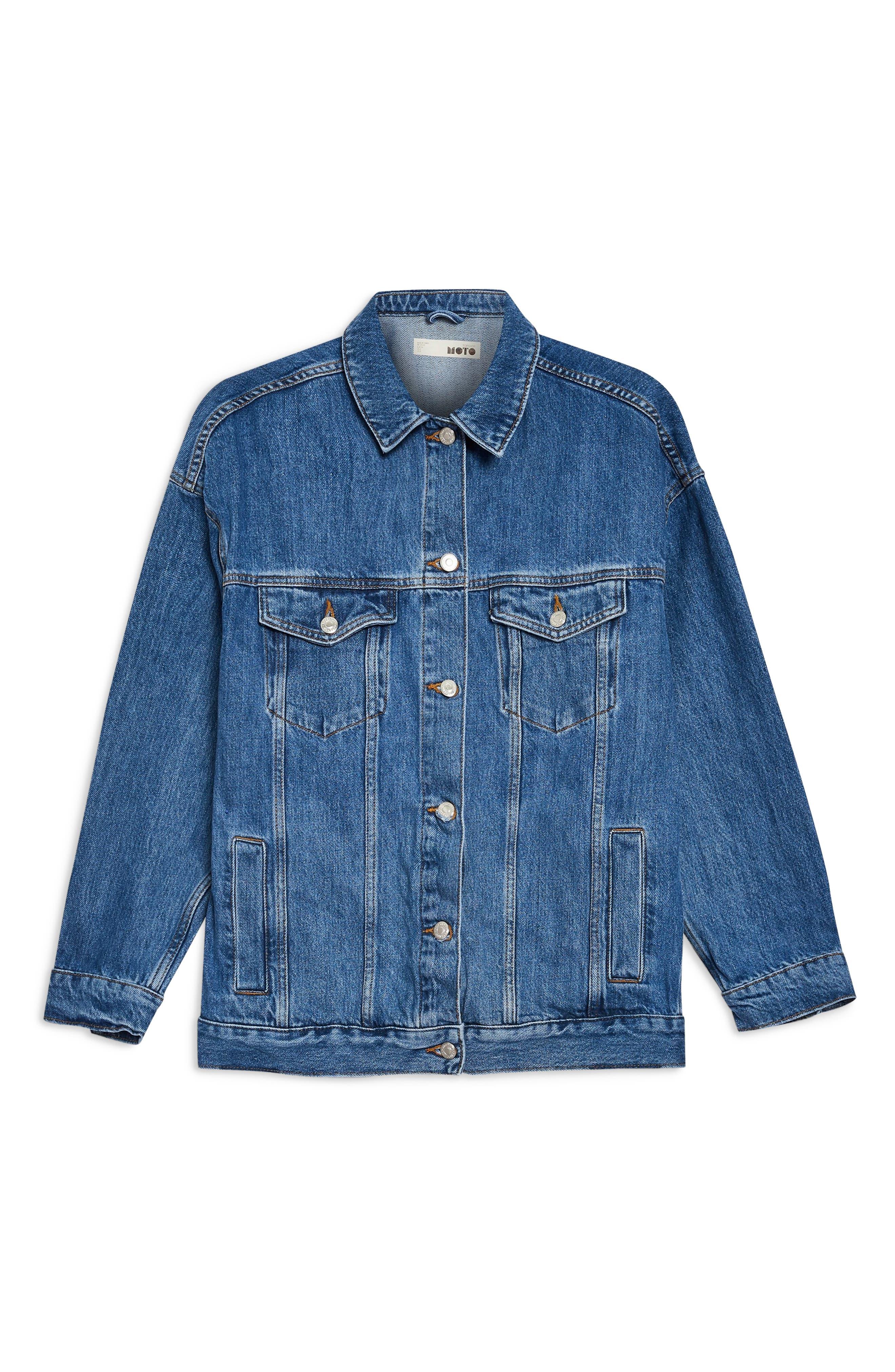 TOPSHOP, Oversized Denim Jacket, Alternate thumbnail 5, color, MID DENIM