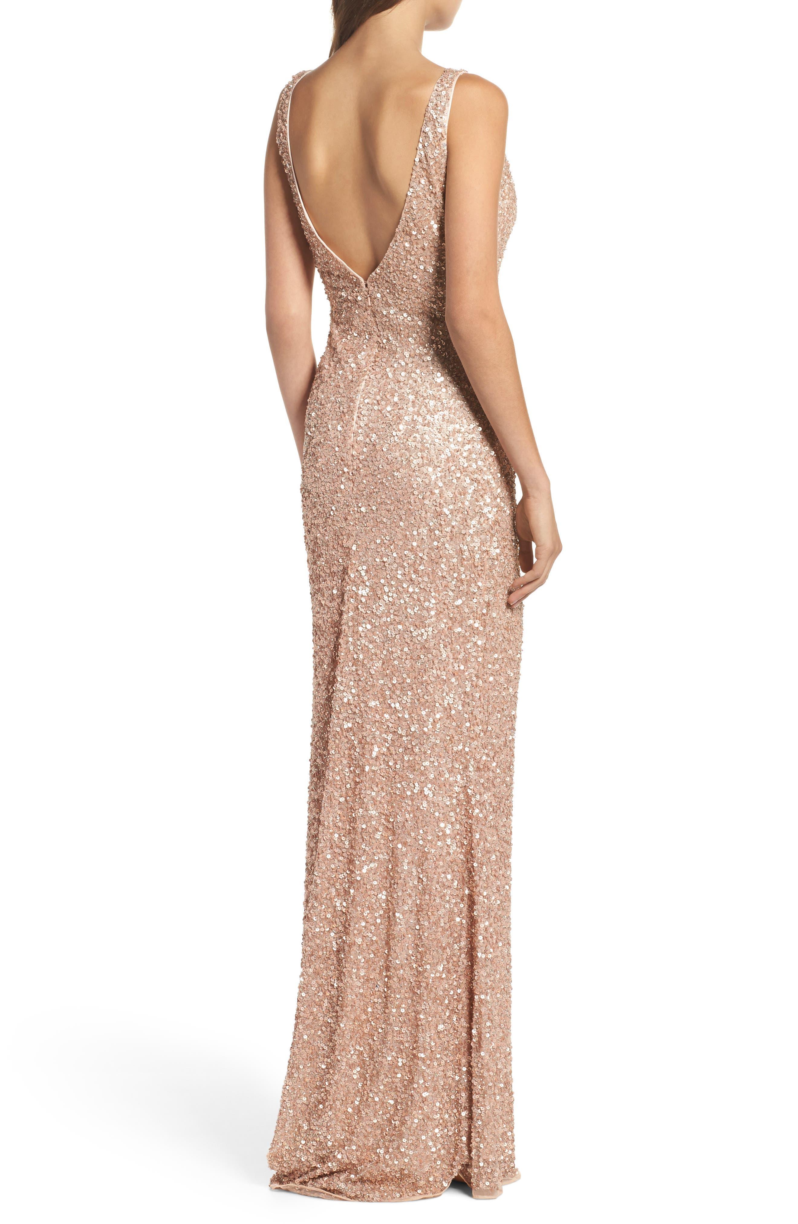 MAC DUGGAL, Sequin Slit Gown, Alternate thumbnail 2, color, ROSE GOLD