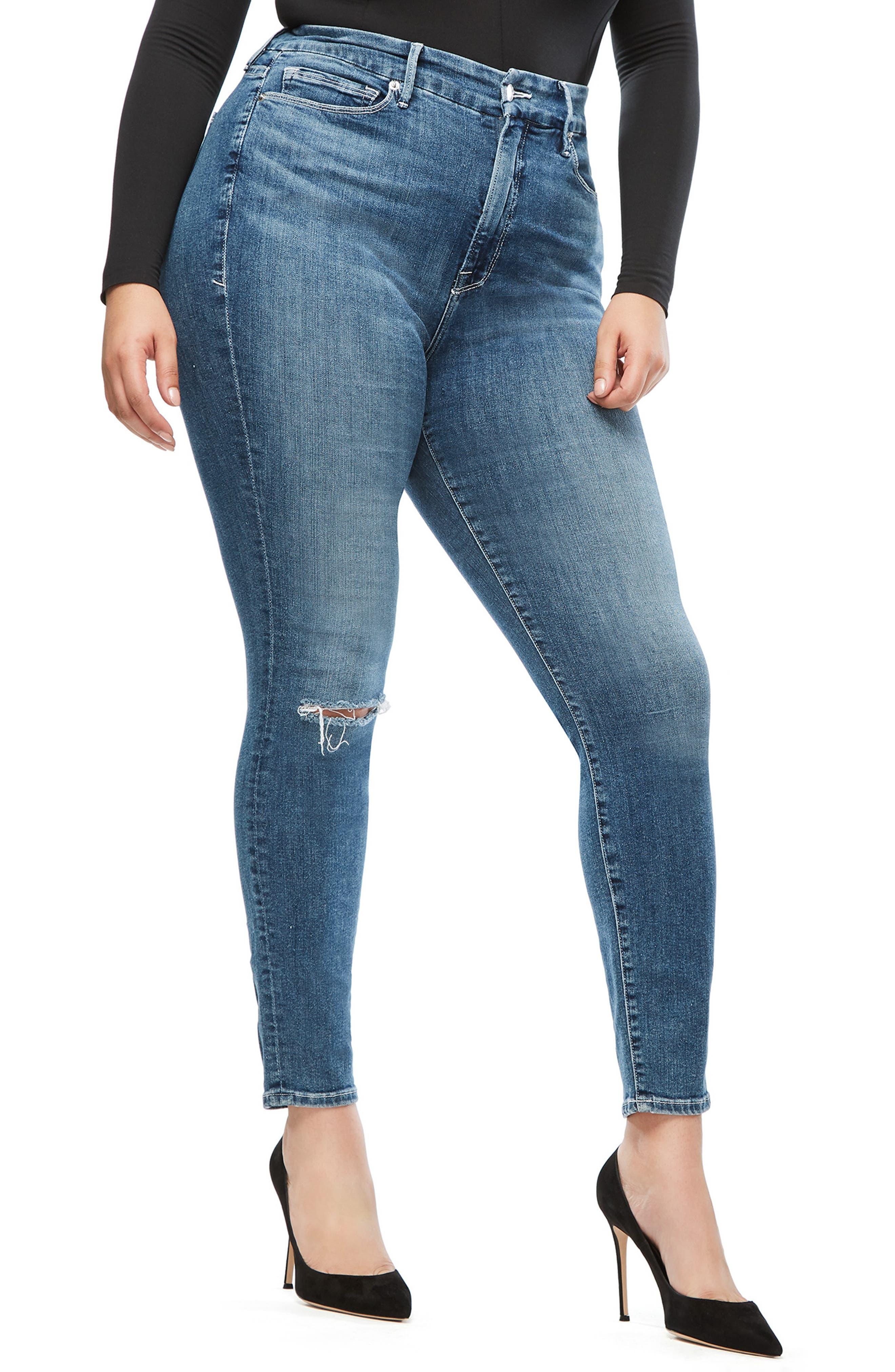 GOOD AMERICAN, Good Legs High Waist Skinny Jeans, Alternate thumbnail 8, color, BLUE186