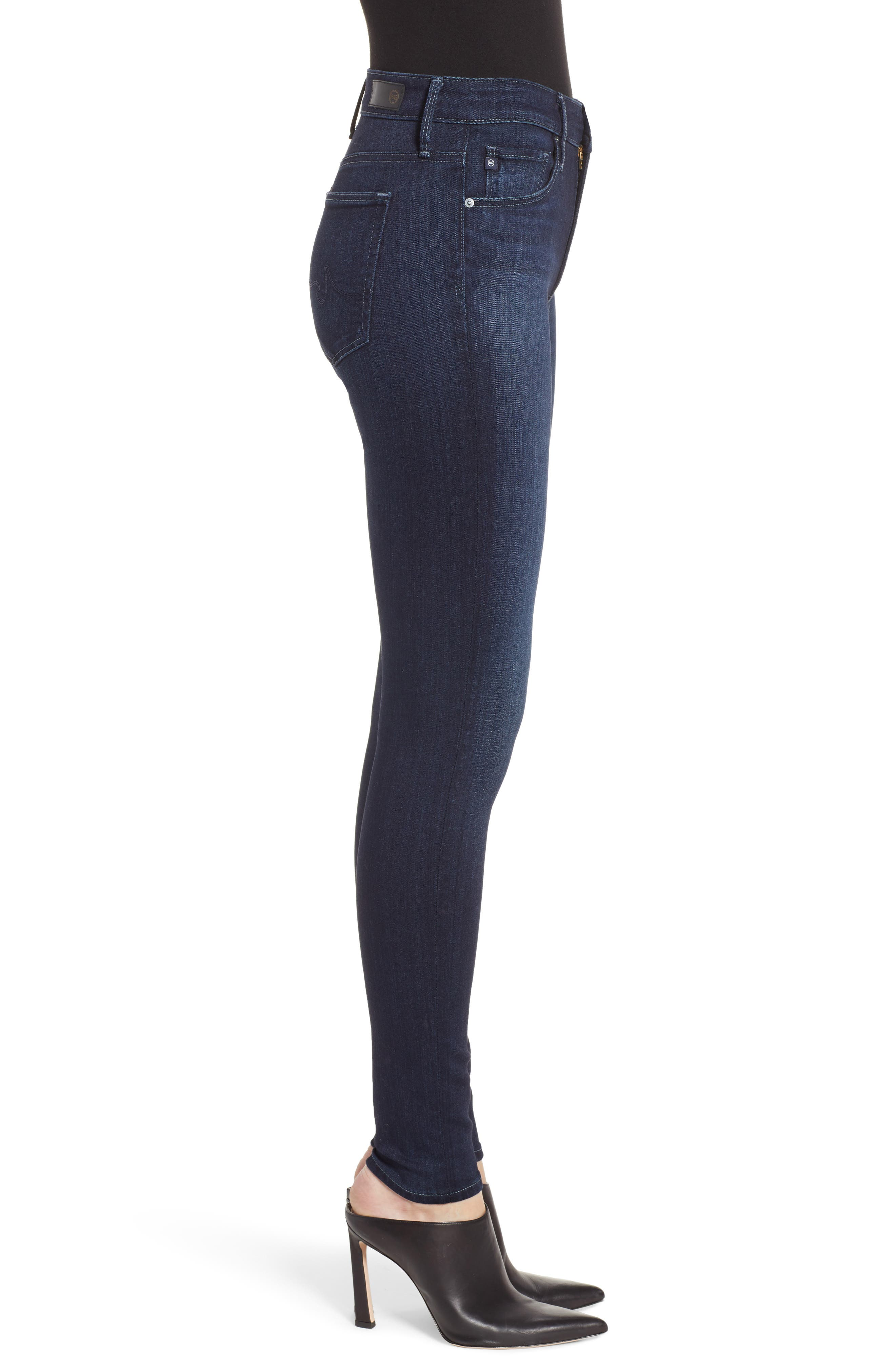 AG, Farrah High Waist Skinny Jeans, Alternate thumbnail 4, color, BLUE BASIN