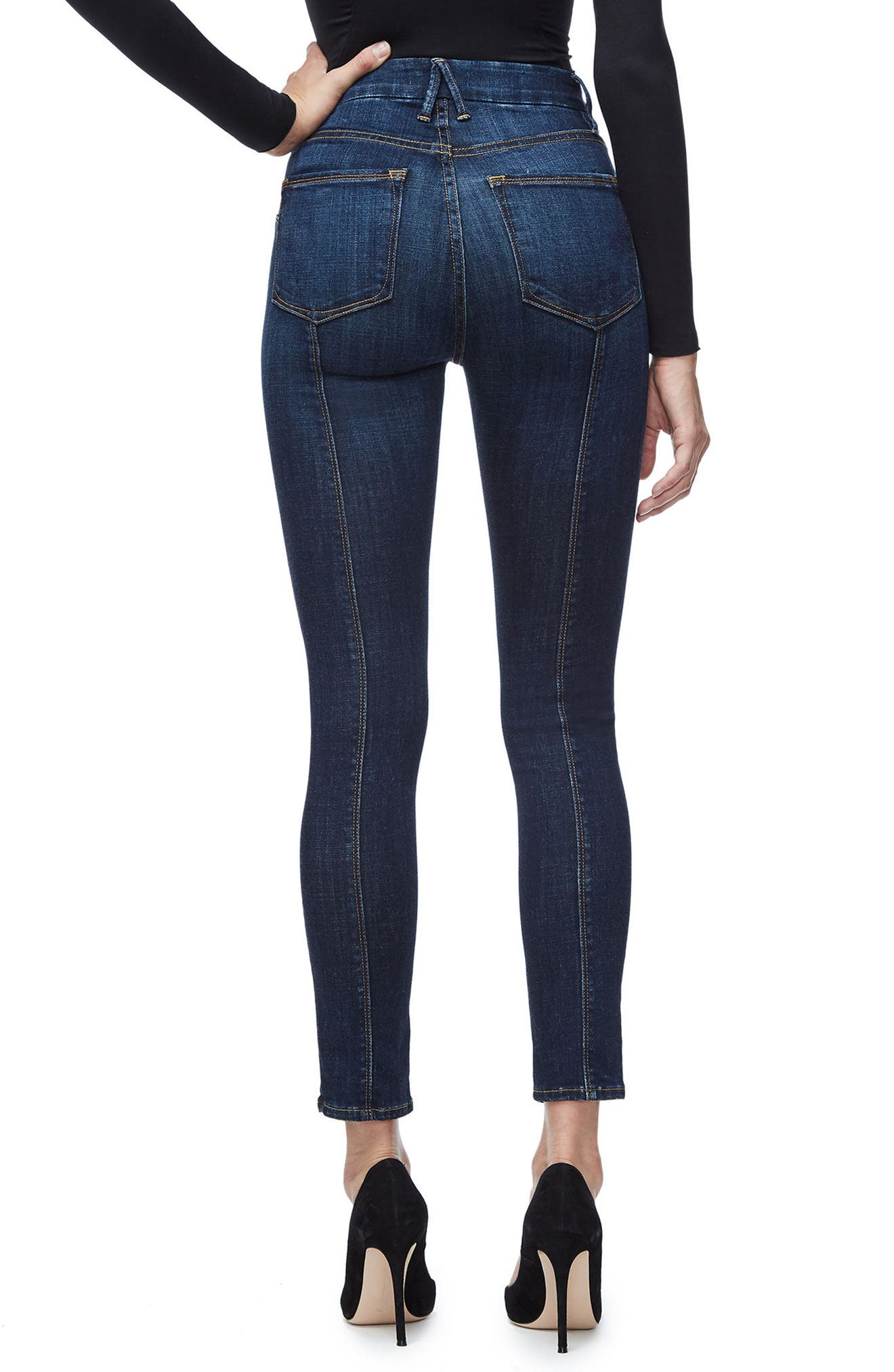GOOD AMERICAN, Good Legs Crop Skinny Jeans, Alternate thumbnail 4, color, BLUE025