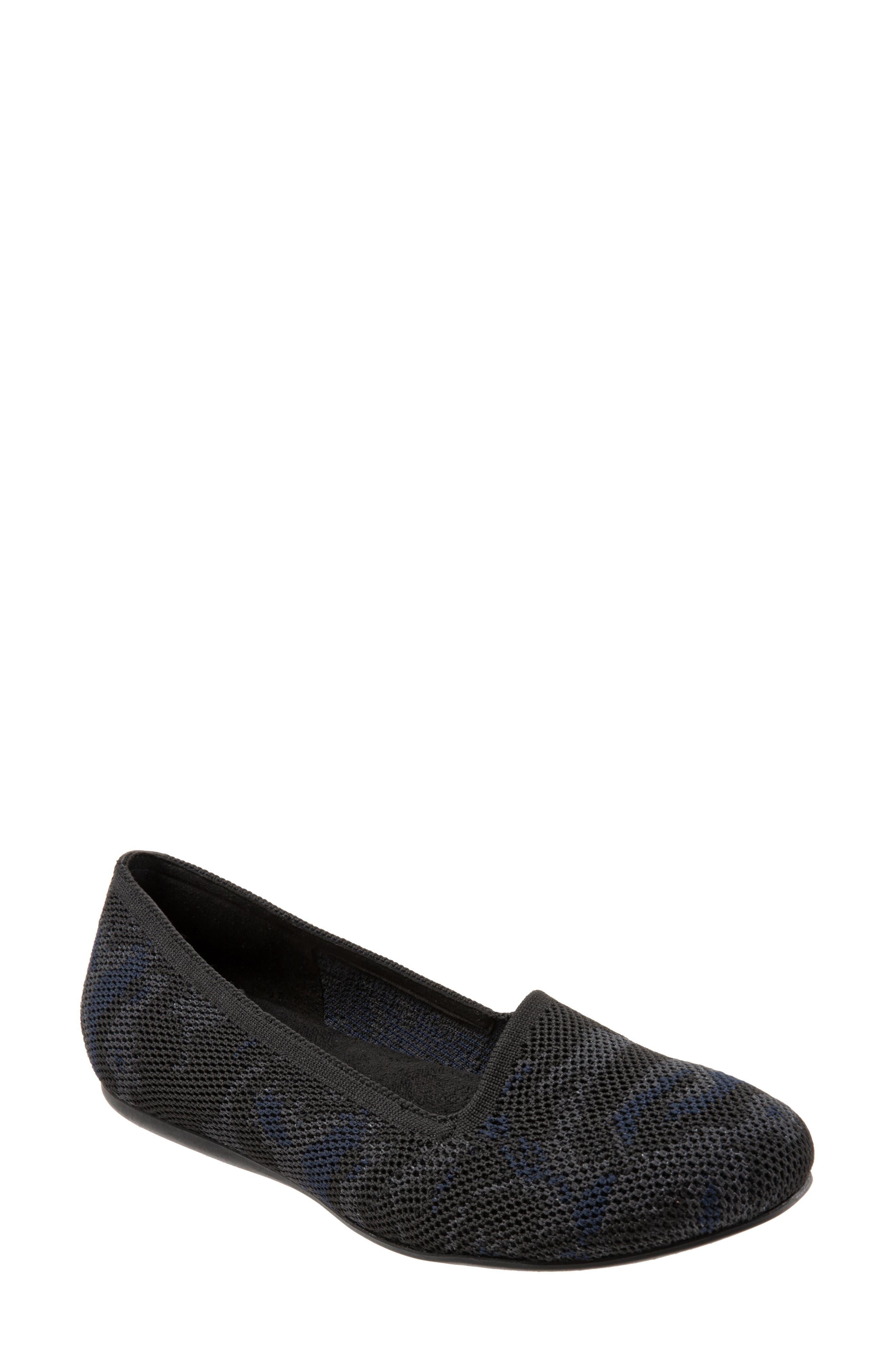 SOFTWALK<SUP>®</SUP>, Sicily Knit Flat, Main thumbnail 1, color, BLACK/ GREY FABRIC