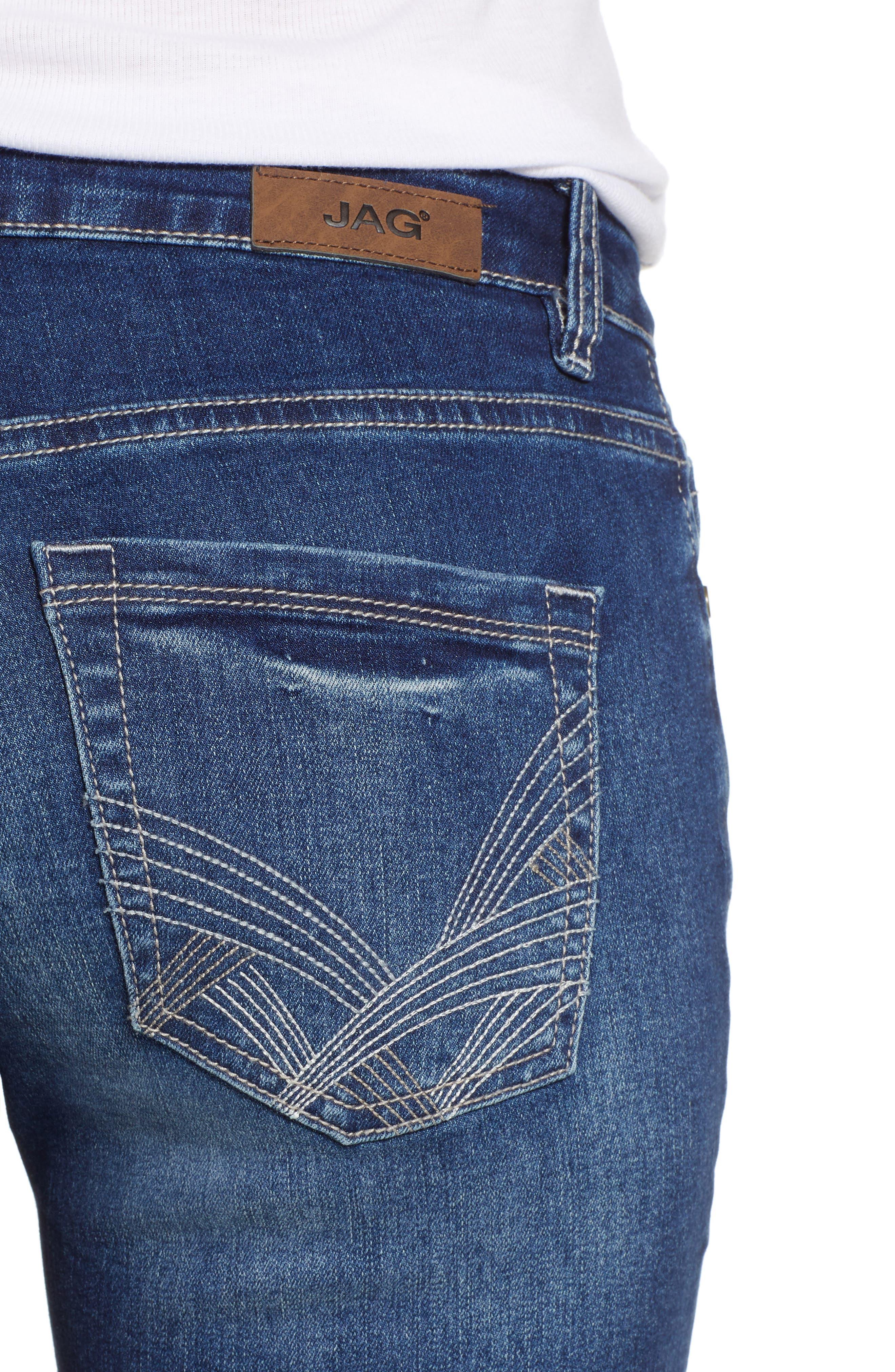 JAG JEANS, Hanna Stretch Straight Leg Jeans, Alternate thumbnail 5, color, MED INDIGO