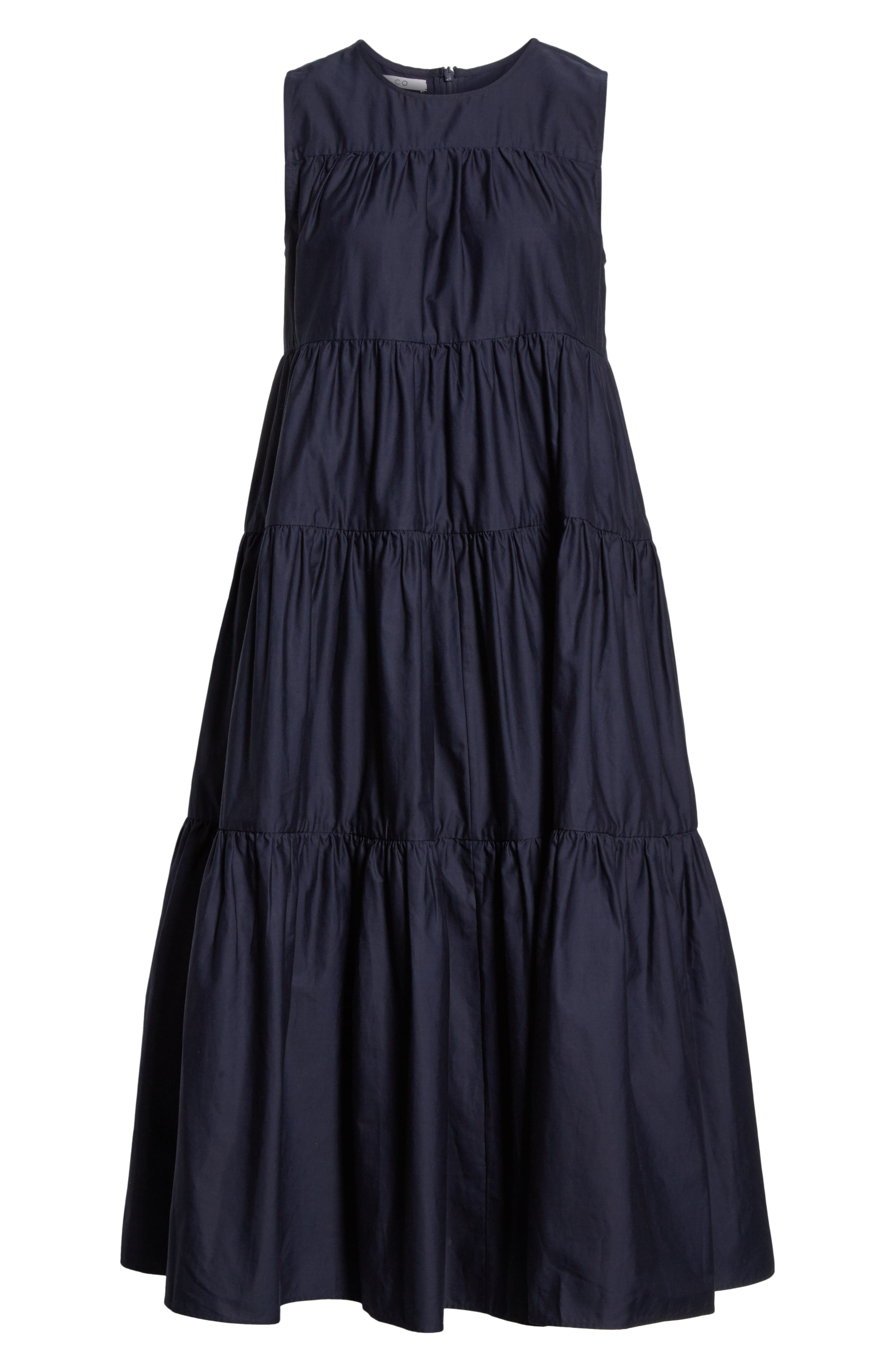 CO, Tiered Cotton Midi Dress, Alternate thumbnail 7, color, NAVY