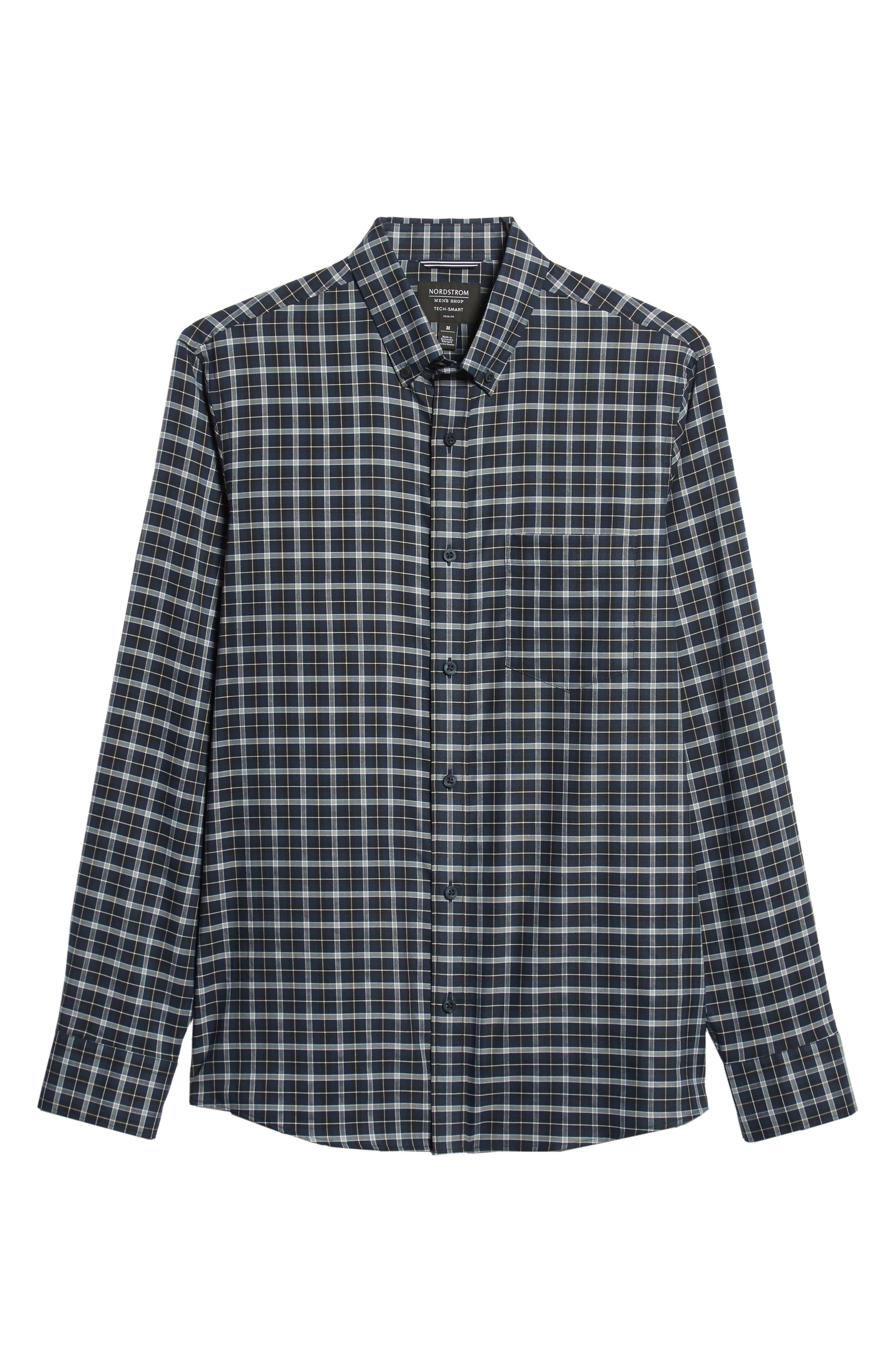 NORDSTROM MEN'S SHOP, Tech-Smart Slim Fit Check Sport Shirt, Alternate thumbnail 5, color, NAVY IRIS BLACK CHECK