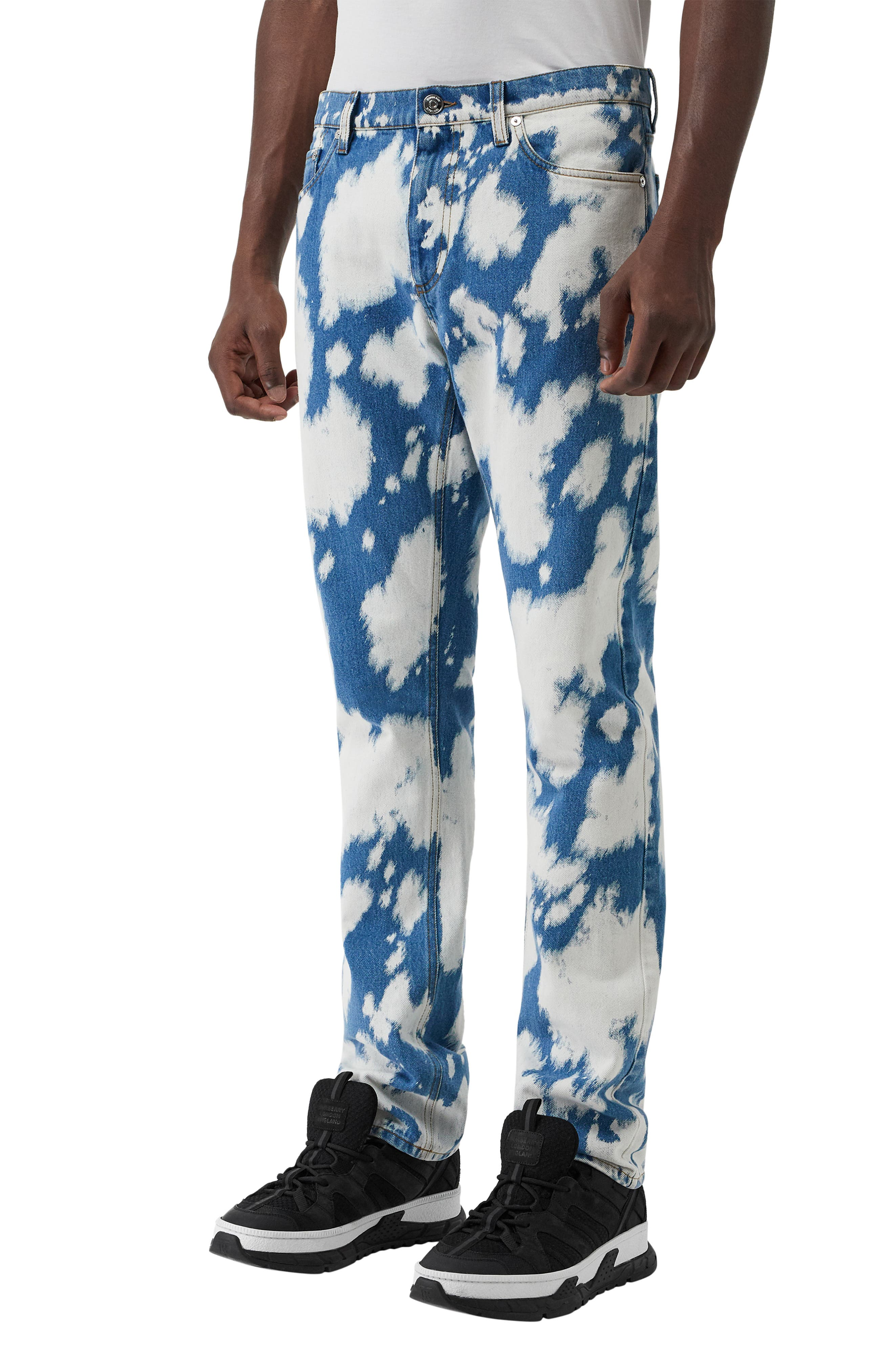 BURBERRY, Punk Bleached Straight Leg Jeans, Alternate thumbnail 3, color, LIGHT INDIGO