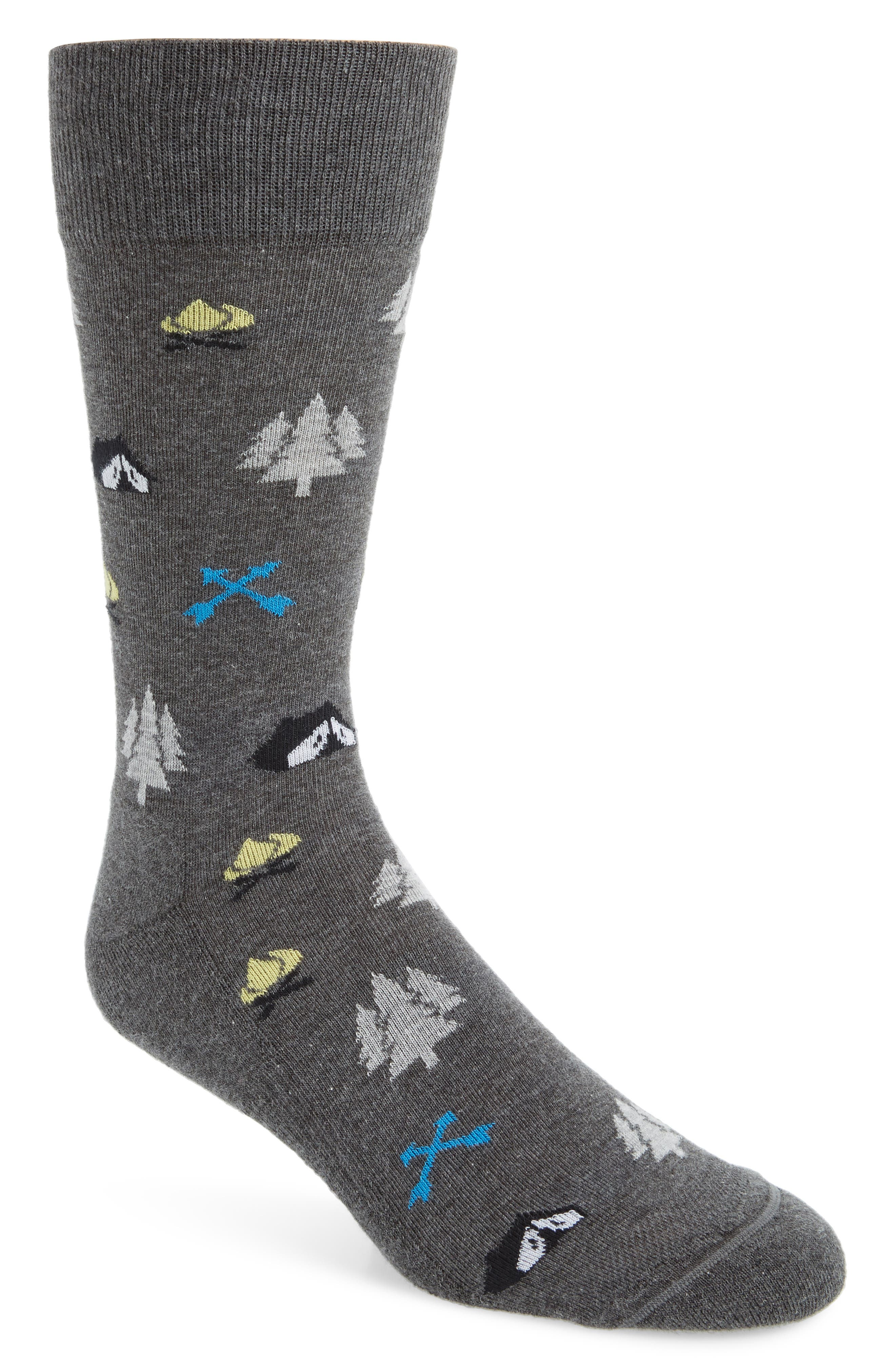 NORDSTROM MEN'S SHOP, Great Outdoors Socks, Main thumbnail 1, color, CHARCOAL HEATHER
