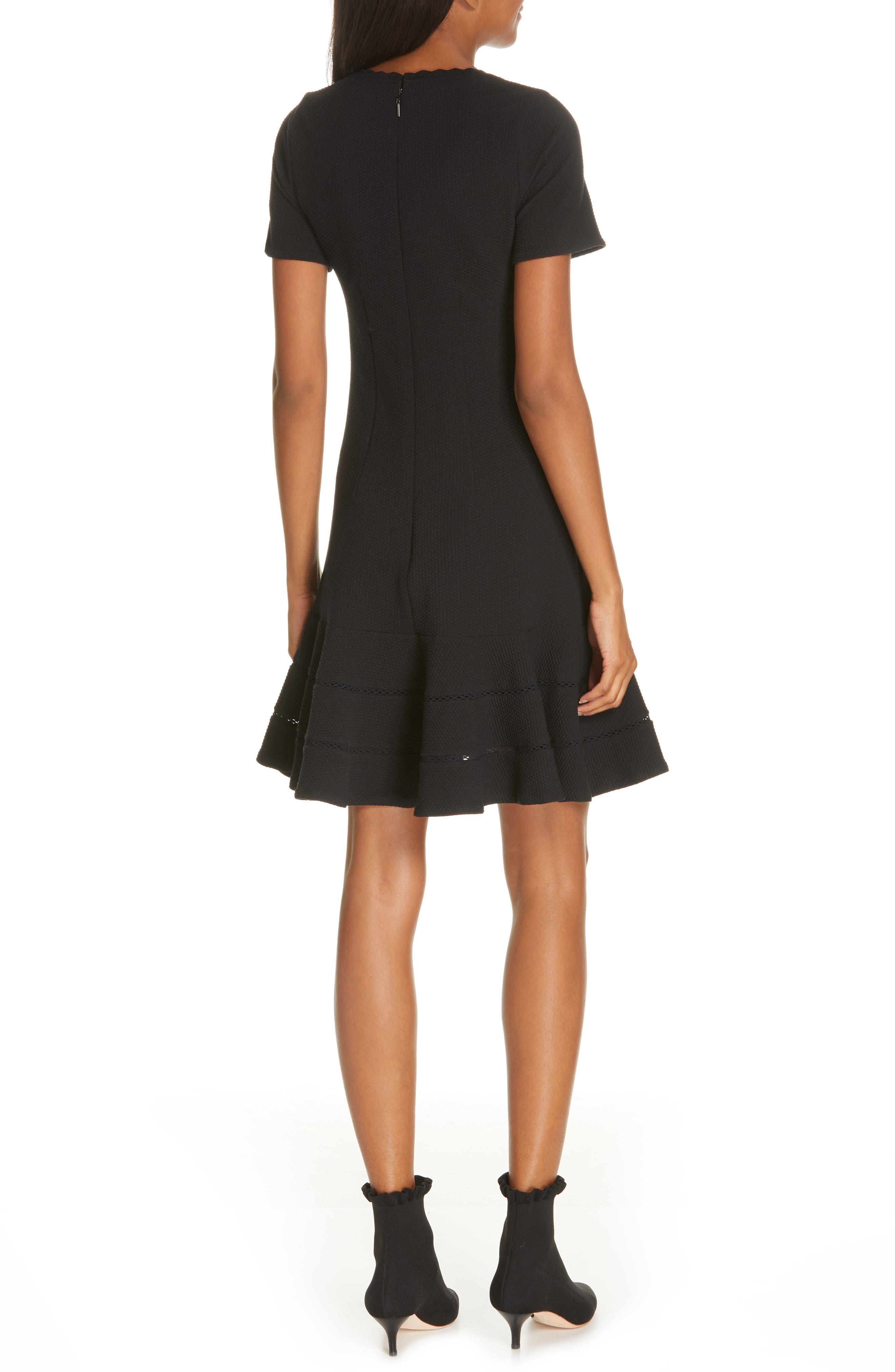 REBECCA TAYLOR, Fit & Flare Dress, Alternate thumbnail 2, color, BLACK