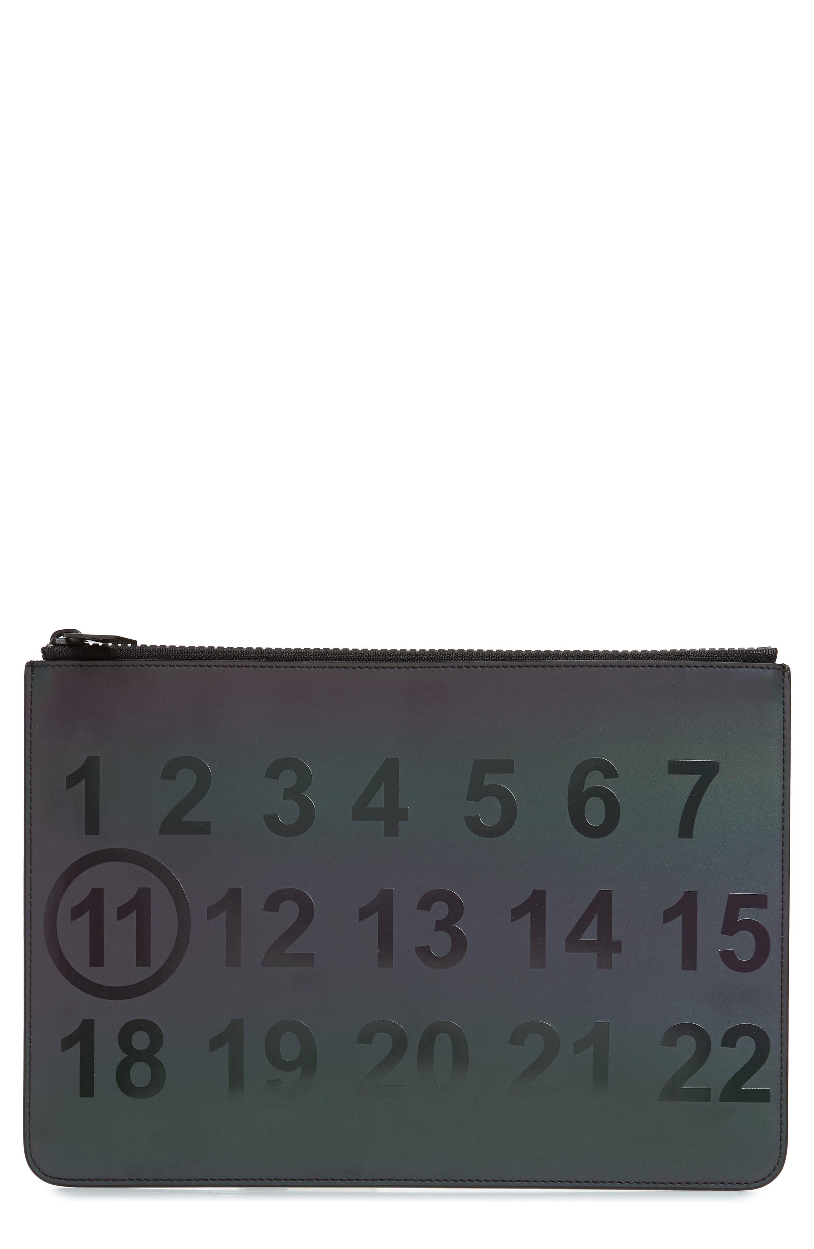 MAISON MARGIELA Leather Zip Pouch, Main, color, BLACK