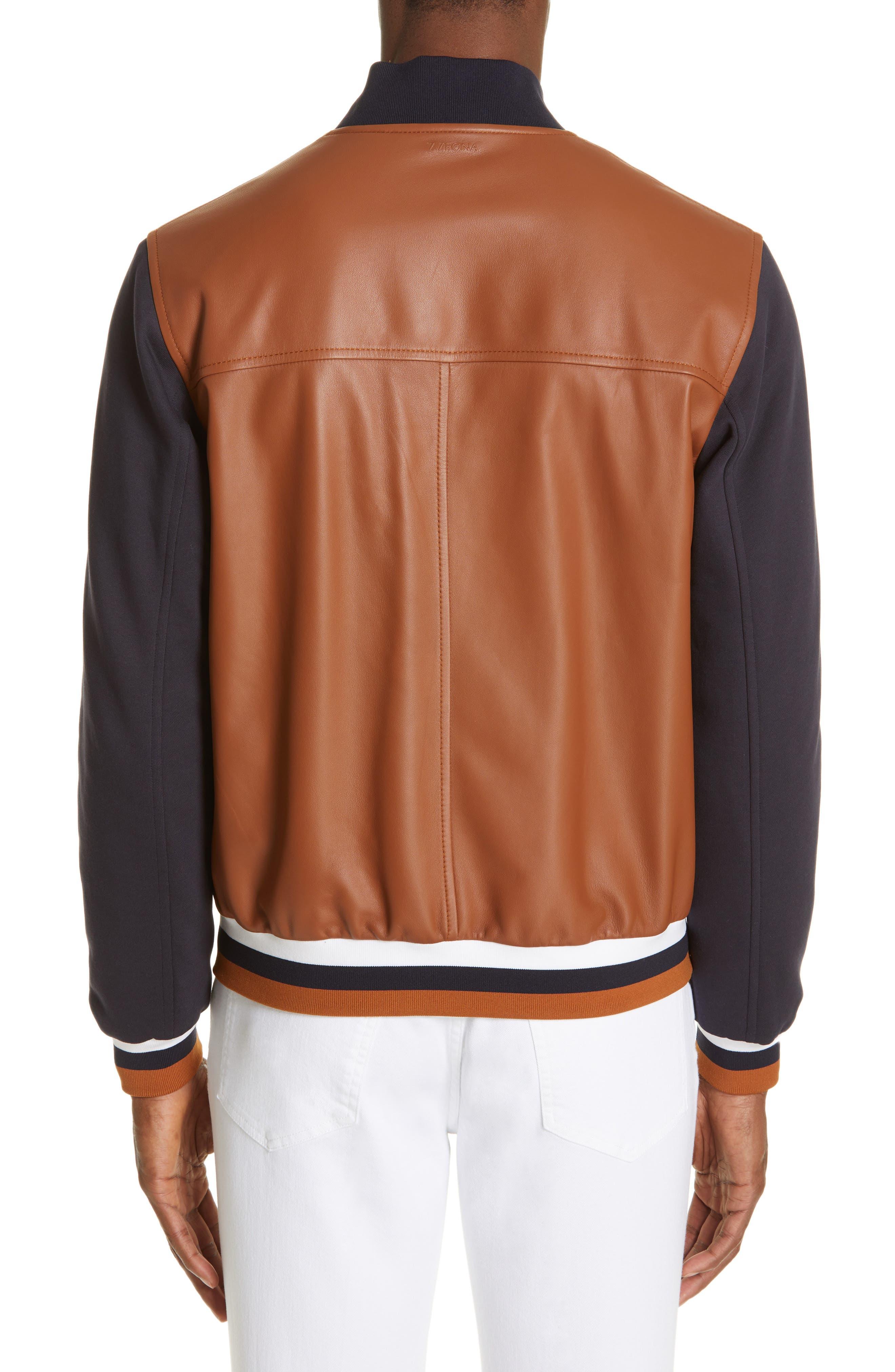 Z ZEGNA, Contrast Leather Bomber Jacket, Alternate thumbnail 2, color, NAVY/ BROWN
