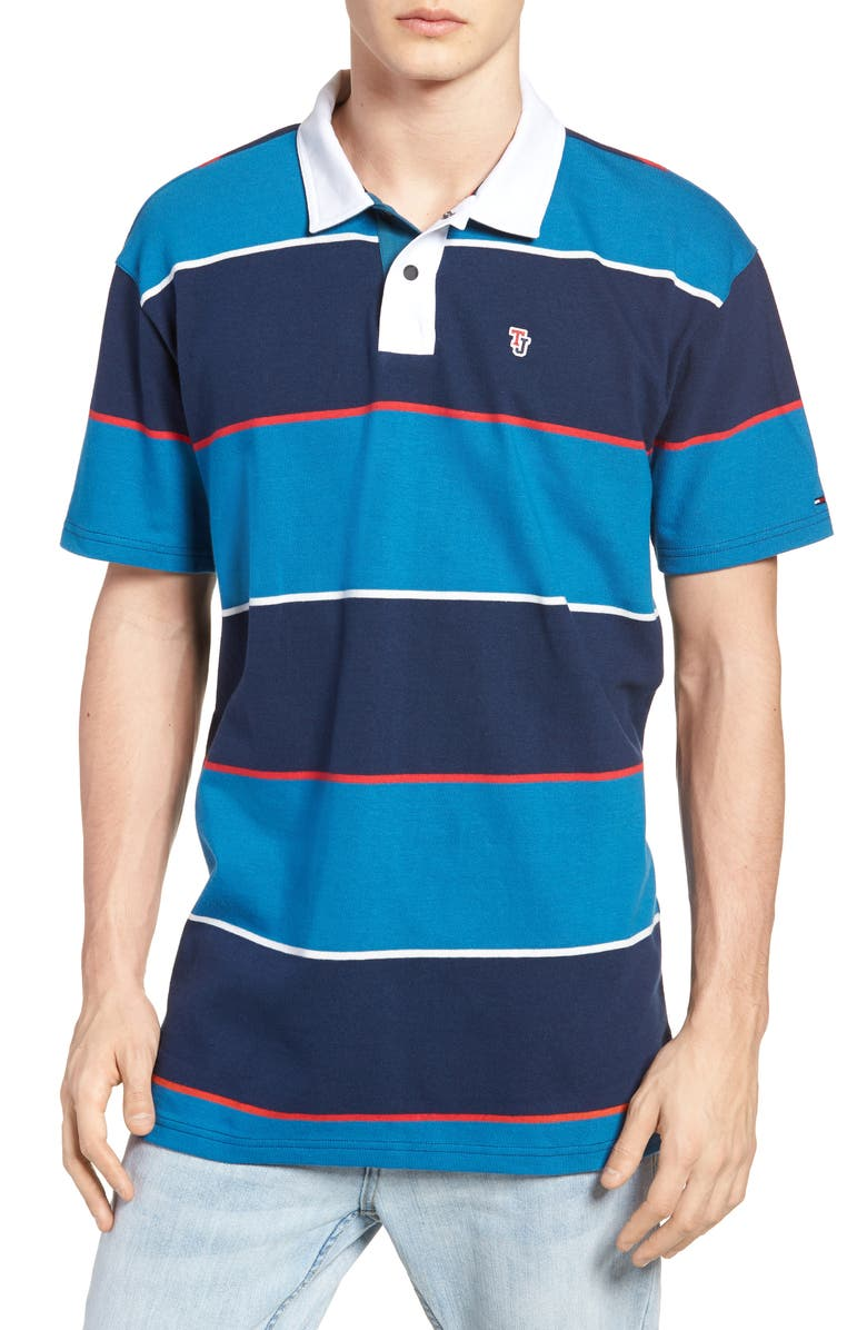 b761bea1d52 TOMMY JEANS Block Stripe Rugby Polo, Main, color, 400