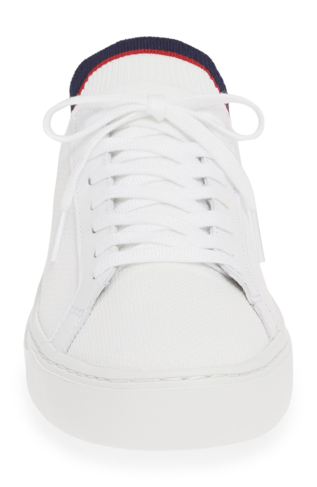 LACOSTE, Piqué Knit Sneaker, Alternate thumbnail 4, color, WHITE/ NAVY/ RED