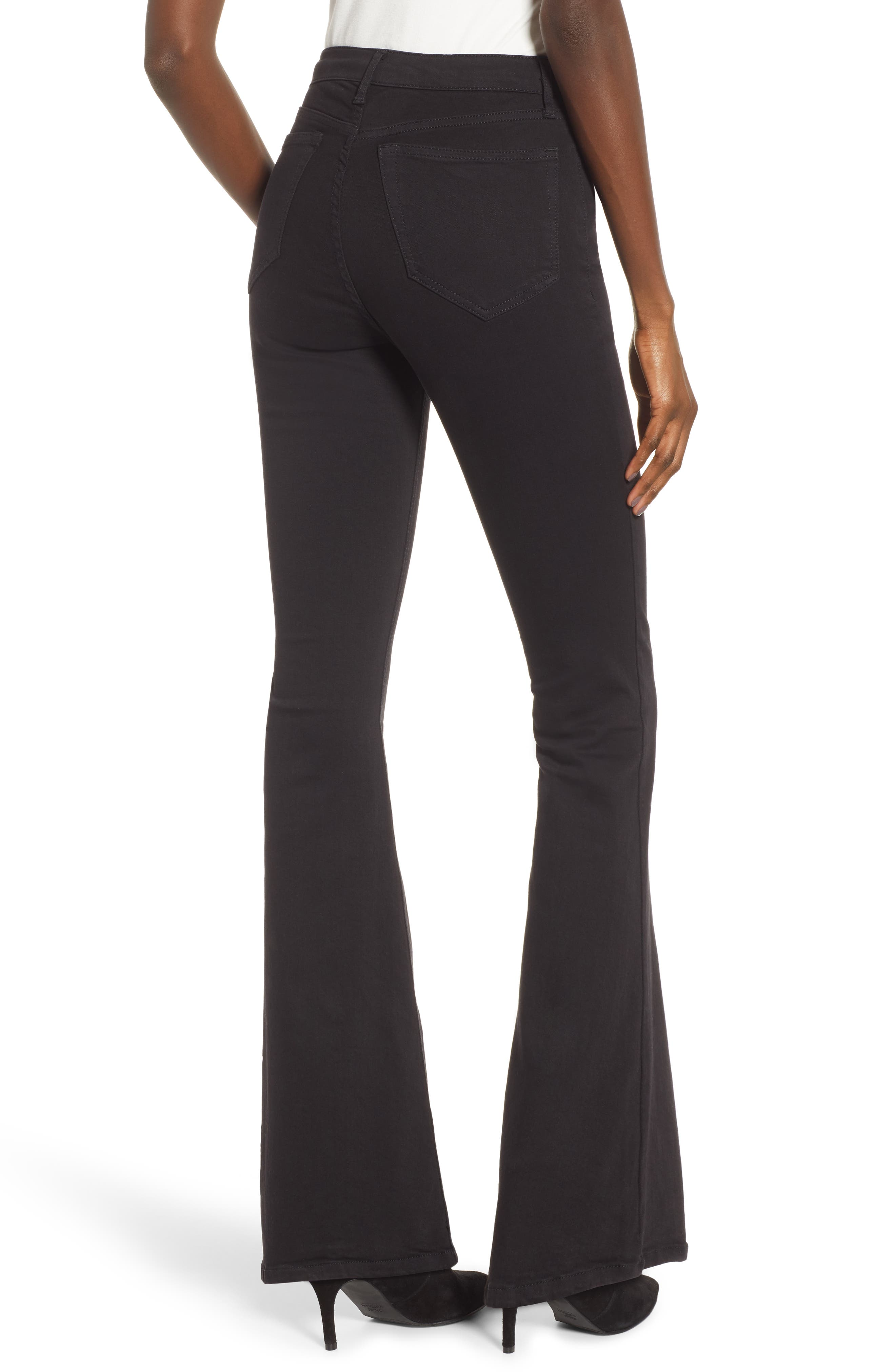 TOPSHOP, Jamie Flare Leg Jeans, Alternate thumbnail 2, color, OPEN BLACK