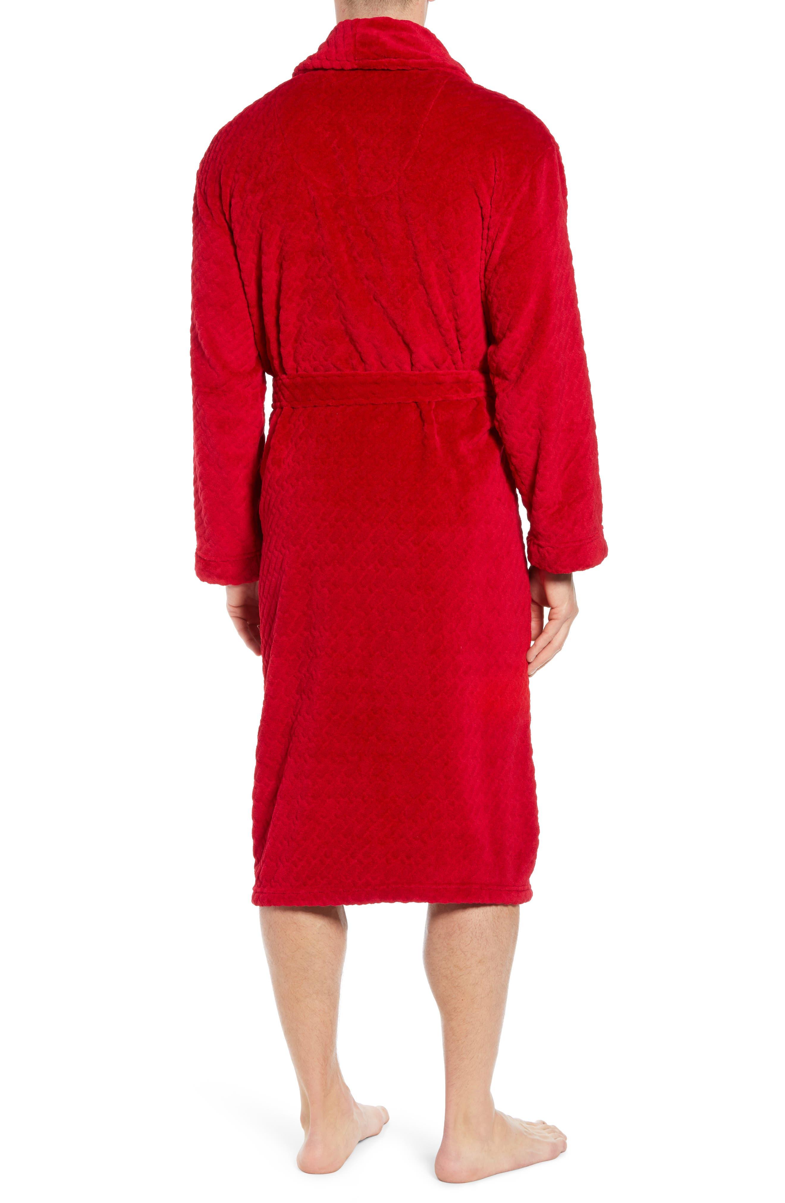 MAJESTIC INTERNATIONAL, Fireside Fleece Robe, Alternate thumbnail 2, color, RED RIBBON