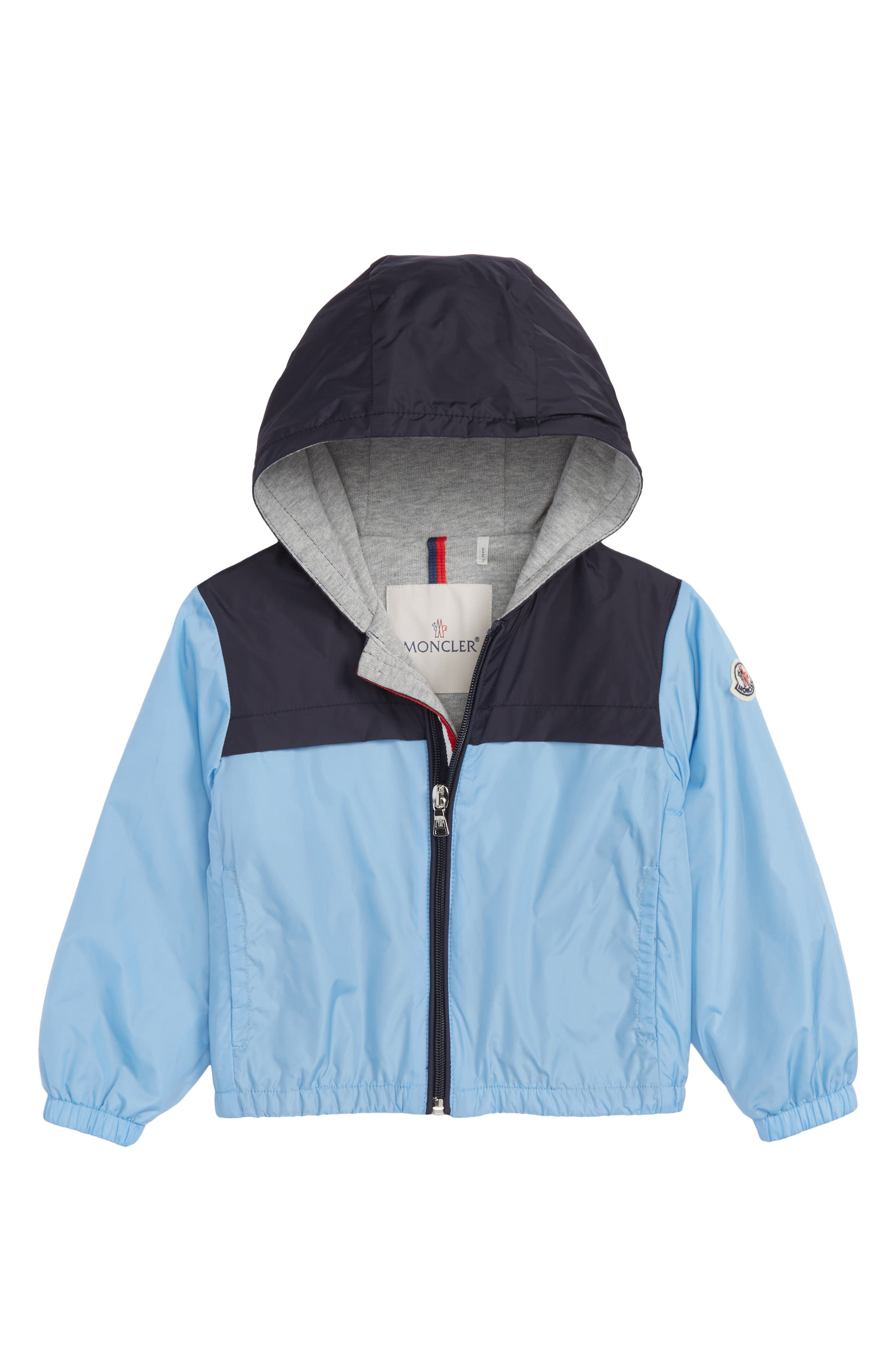 MONCLER, Izon Jersey Lined Hoodie, Main thumbnail 1, color, BLUE/ NAVY