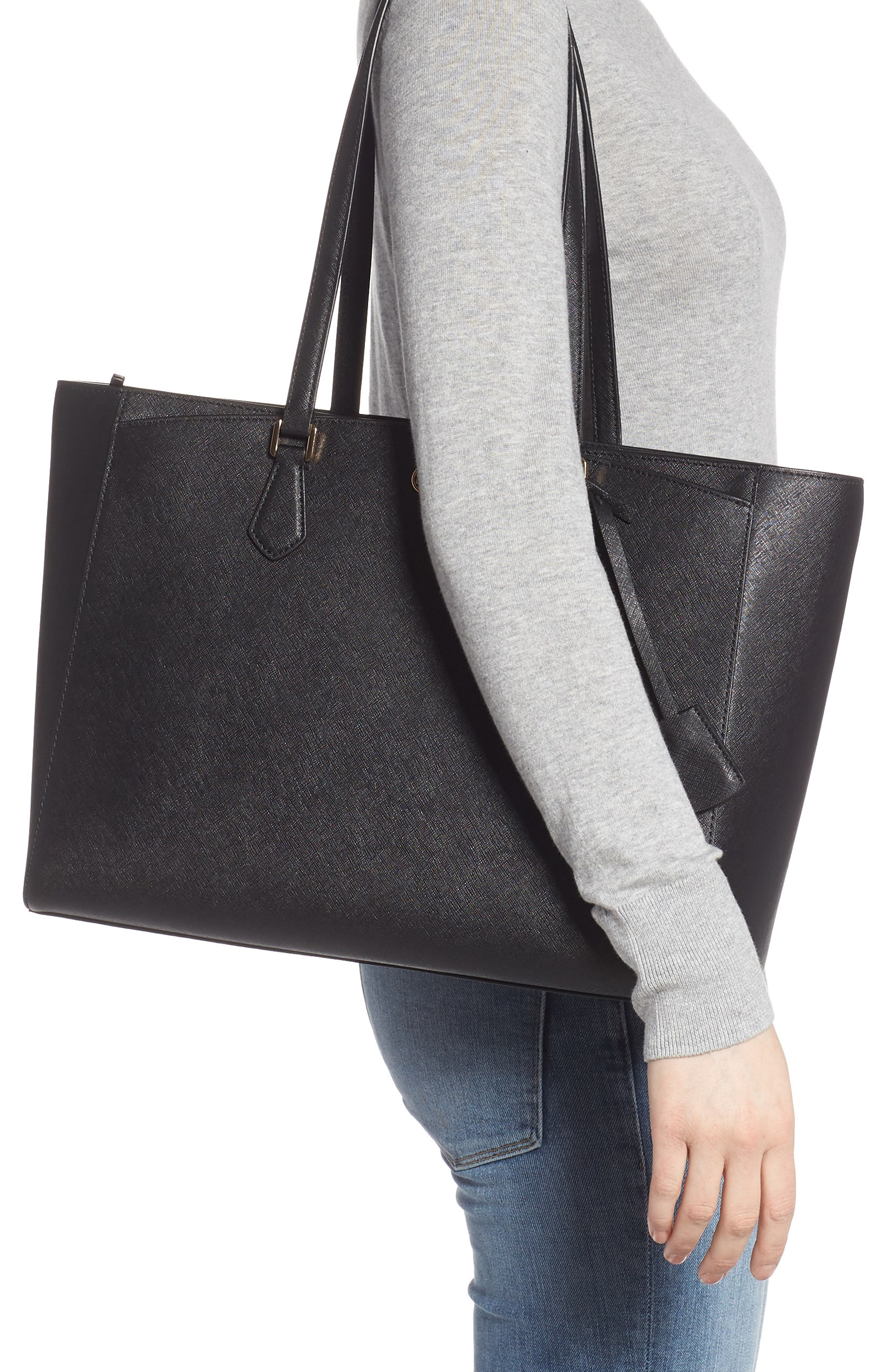 TORY BURCH, Robinson Saffiano Leather Tote, Alternate thumbnail 2, color, BLACK