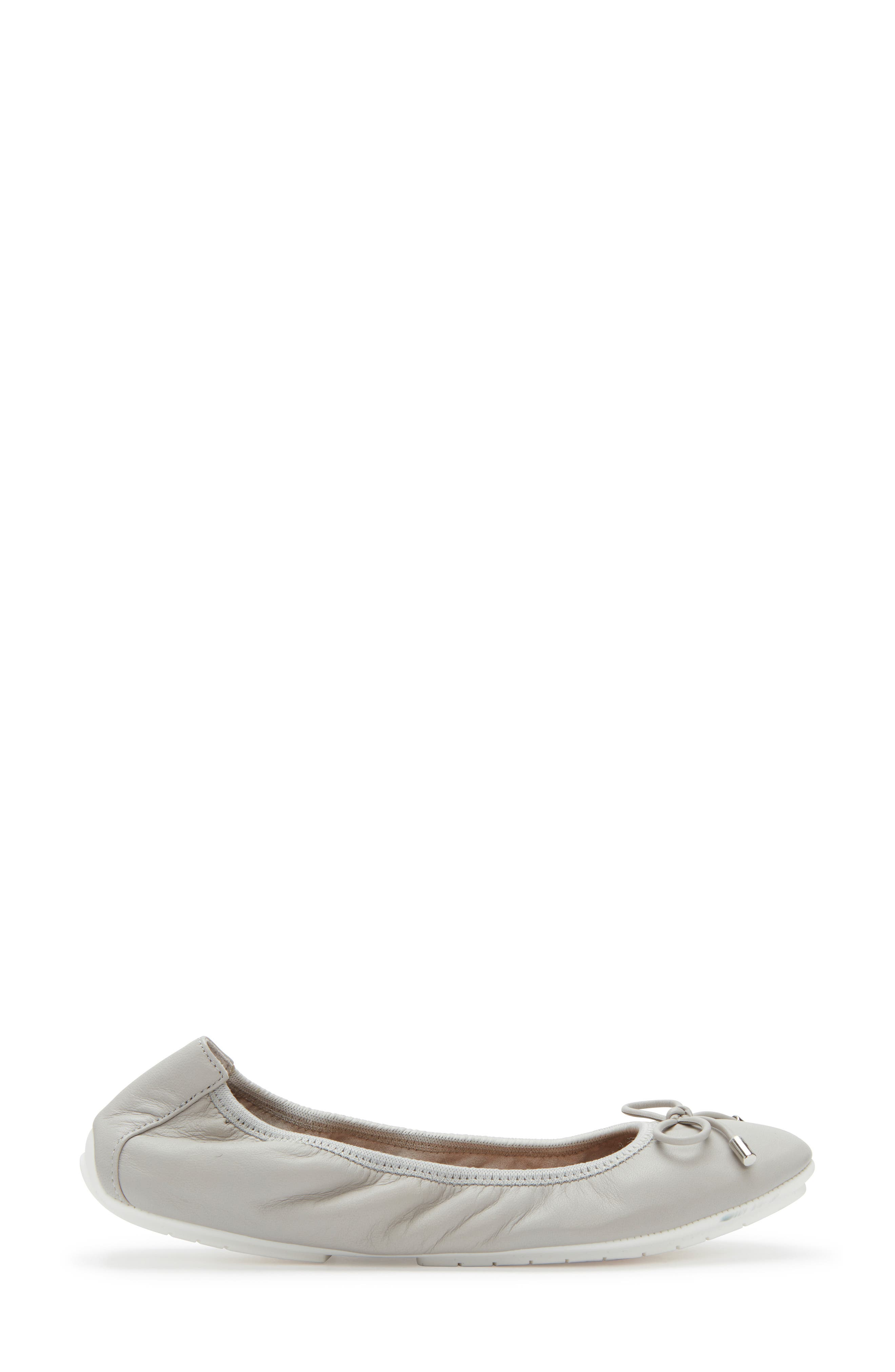 ME TOO, 'Halle 2.0' Ballet Flat, Alternate thumbnail 3, color, LIGHT GREY LEATHER