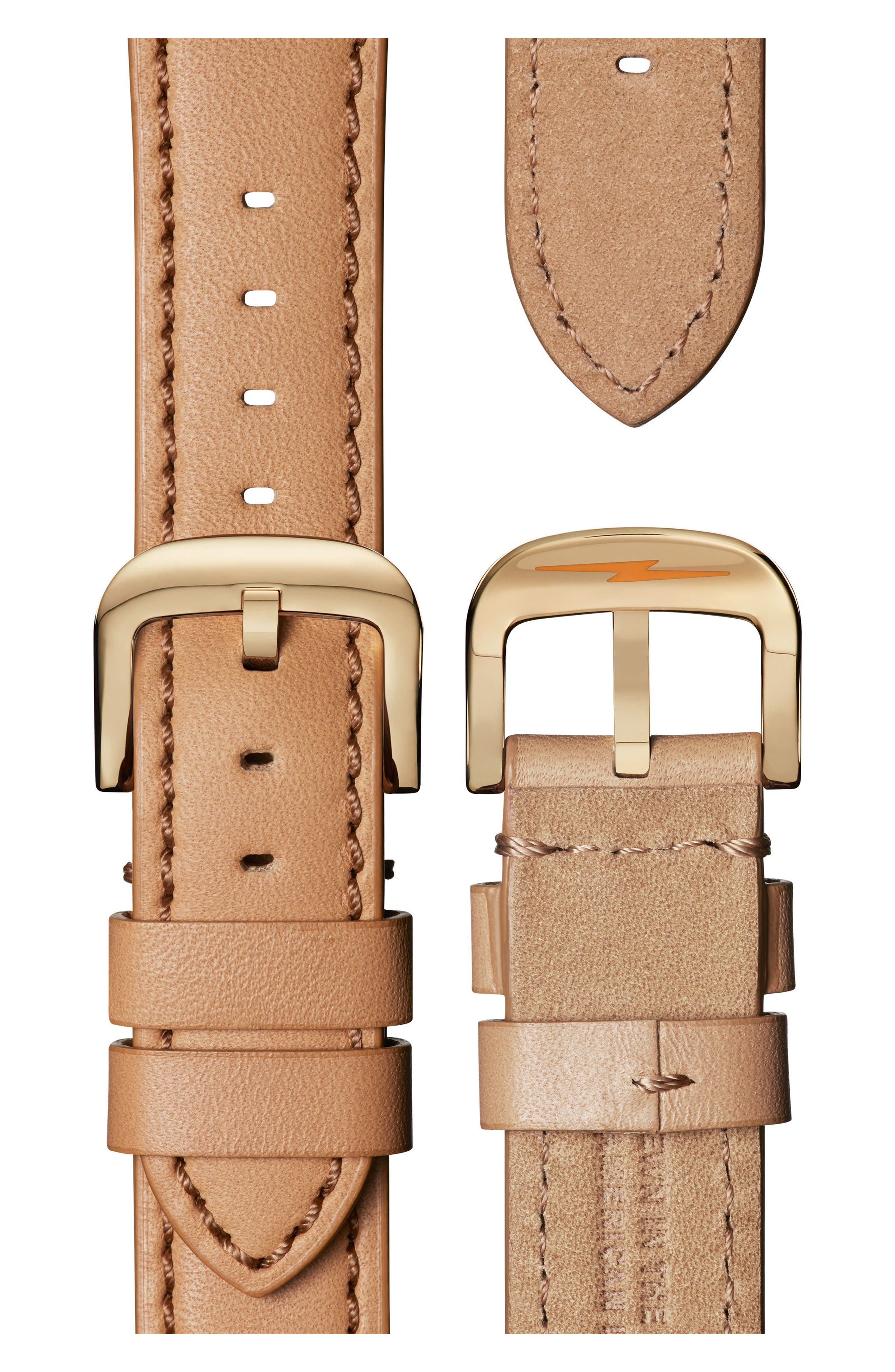 SHINOLA, The Canfield Chrono Leather Strap Watch, 40mm, Alternate thumbnail 4, color, CAMEL/ WHITE/ GOLD
