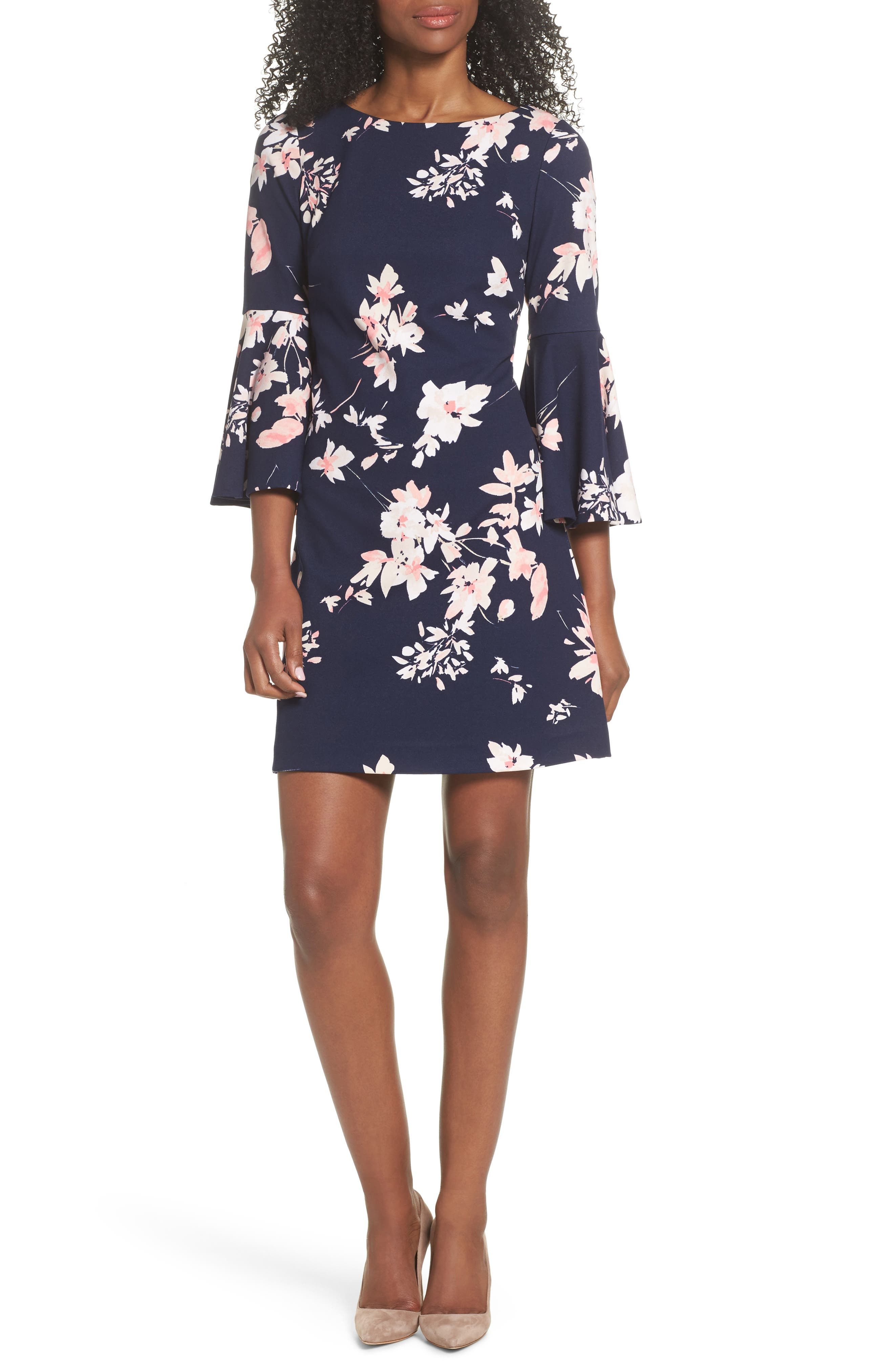 ELIZA J, Floral Bell Sleeve Dress, Main thumbnail 1, color, NAVY/ PINK