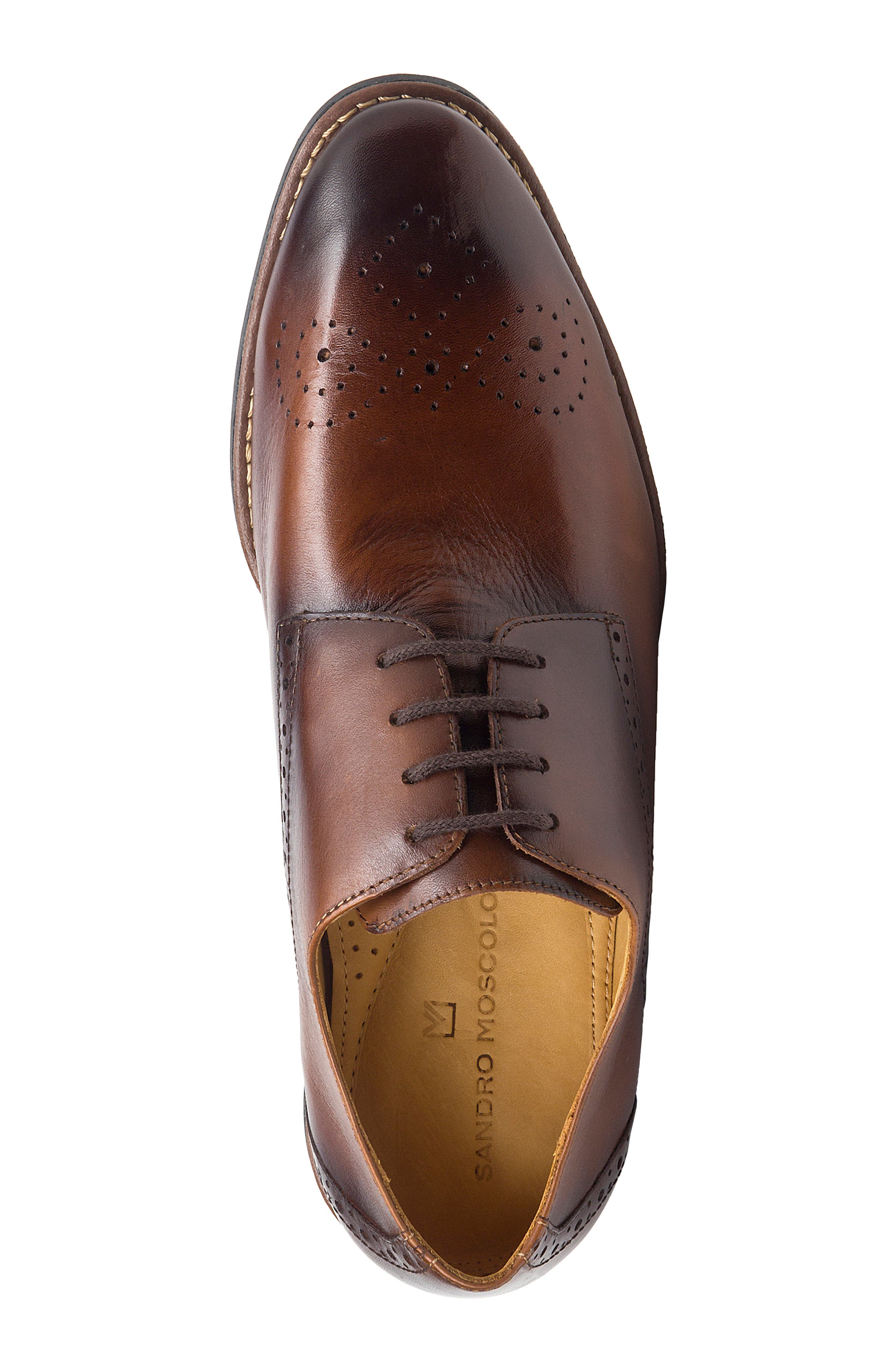 SANDRO MOSCOLONI, Mended Medallion Toe Derby, Alternate thumbnail 5, color, BROWN LEATHER