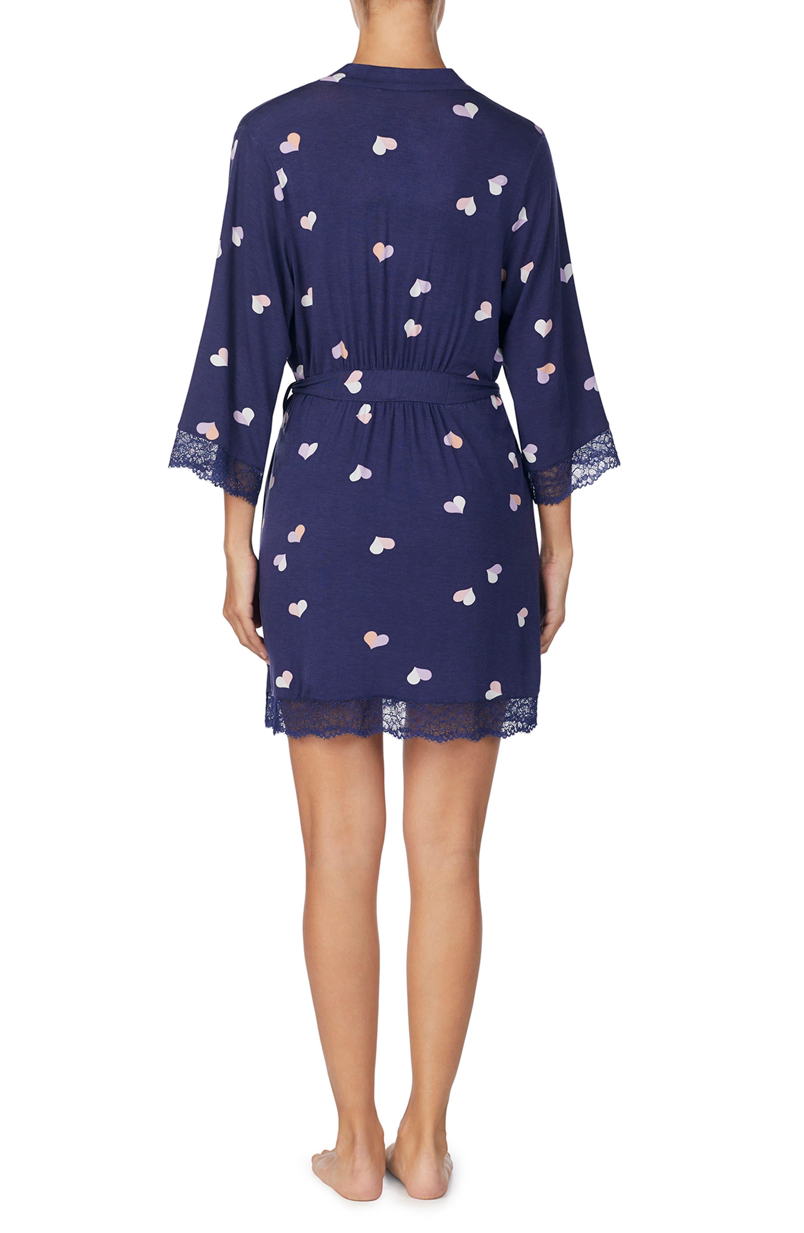 KATE SPADE NEW YORK, lace trim knit robe, Alternate thumbnail 2, color, 489