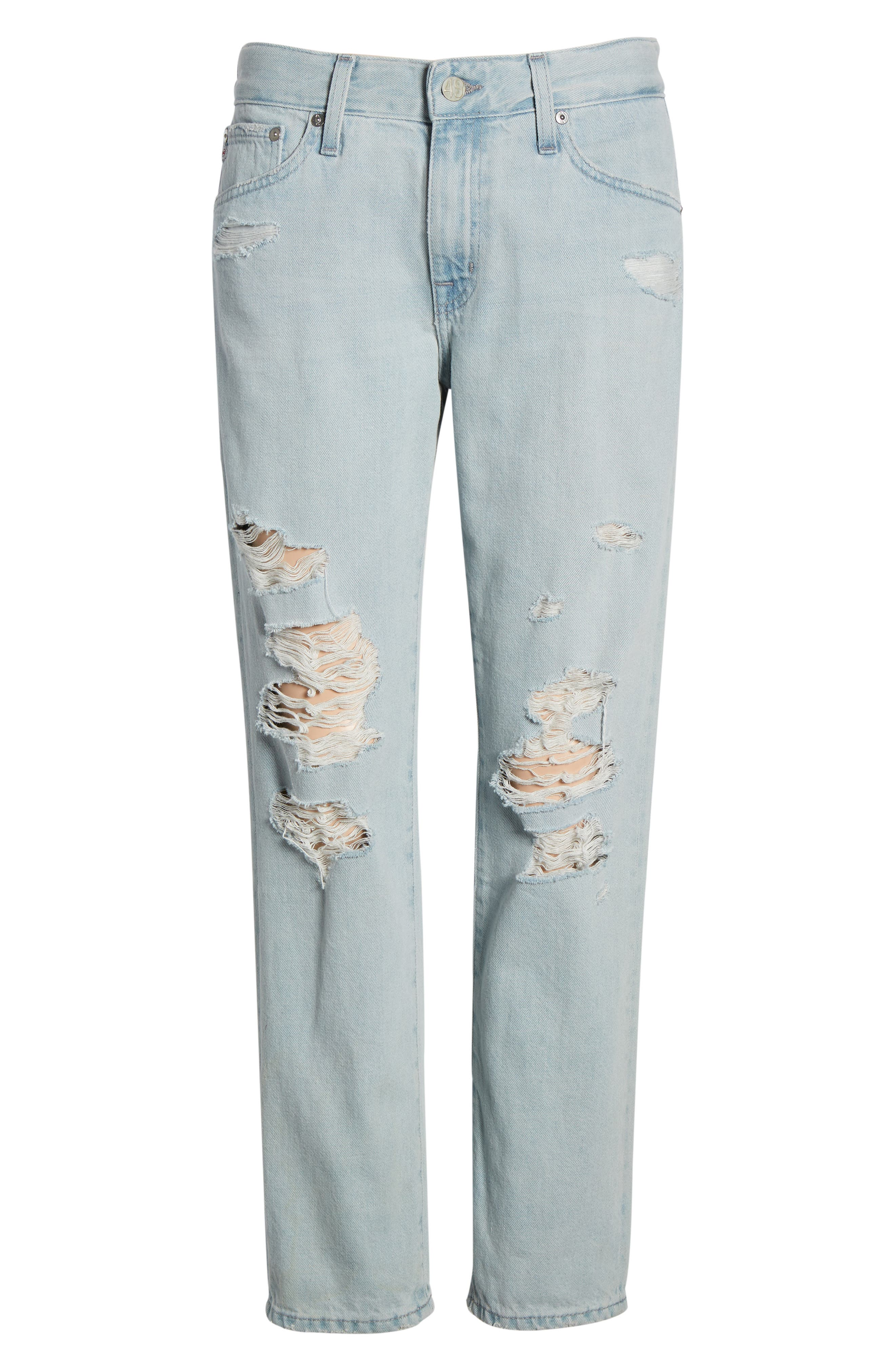 AG, Ex-Boyfriend Ripped Slouchy Ankle Slim Jeans, Alternate thumbnail 7, color, 25 YEARS DEEP DUST