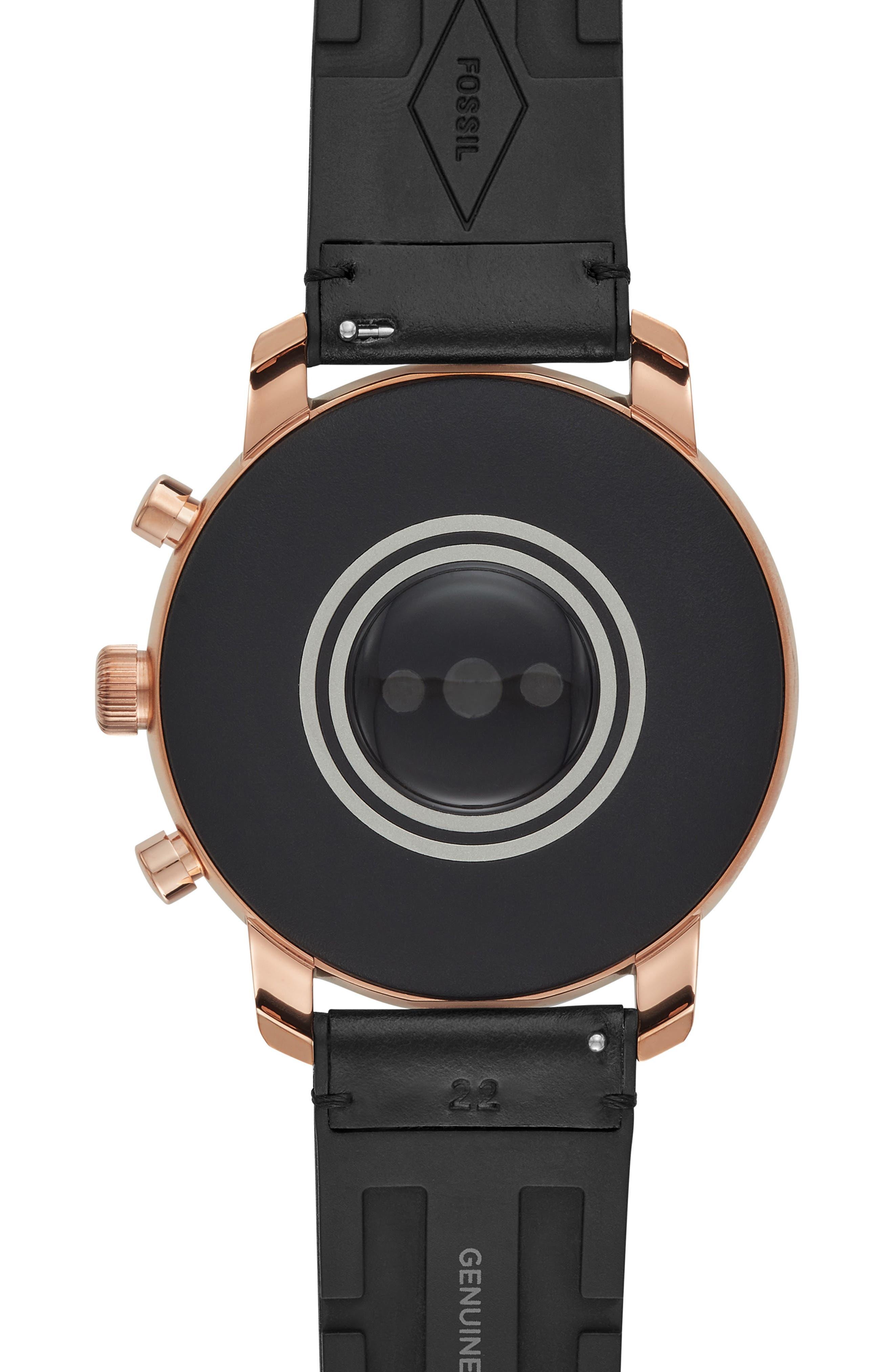 FOSSIL, Q Explorist HR Leather Strap Smart Watch, 45mm, Alternate thumbnail 4, color, 001