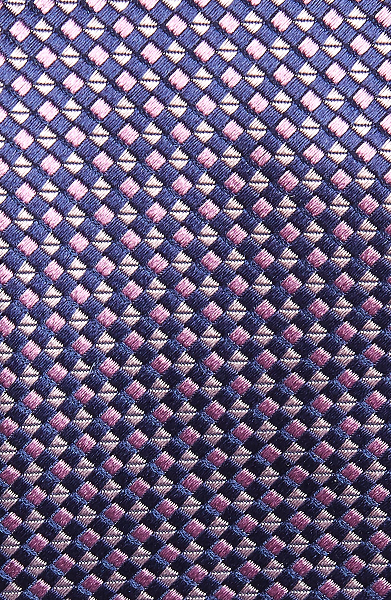 CANALI, Geometric Silk X-Long Tie, Alternate thumbnail 2, color, PINK