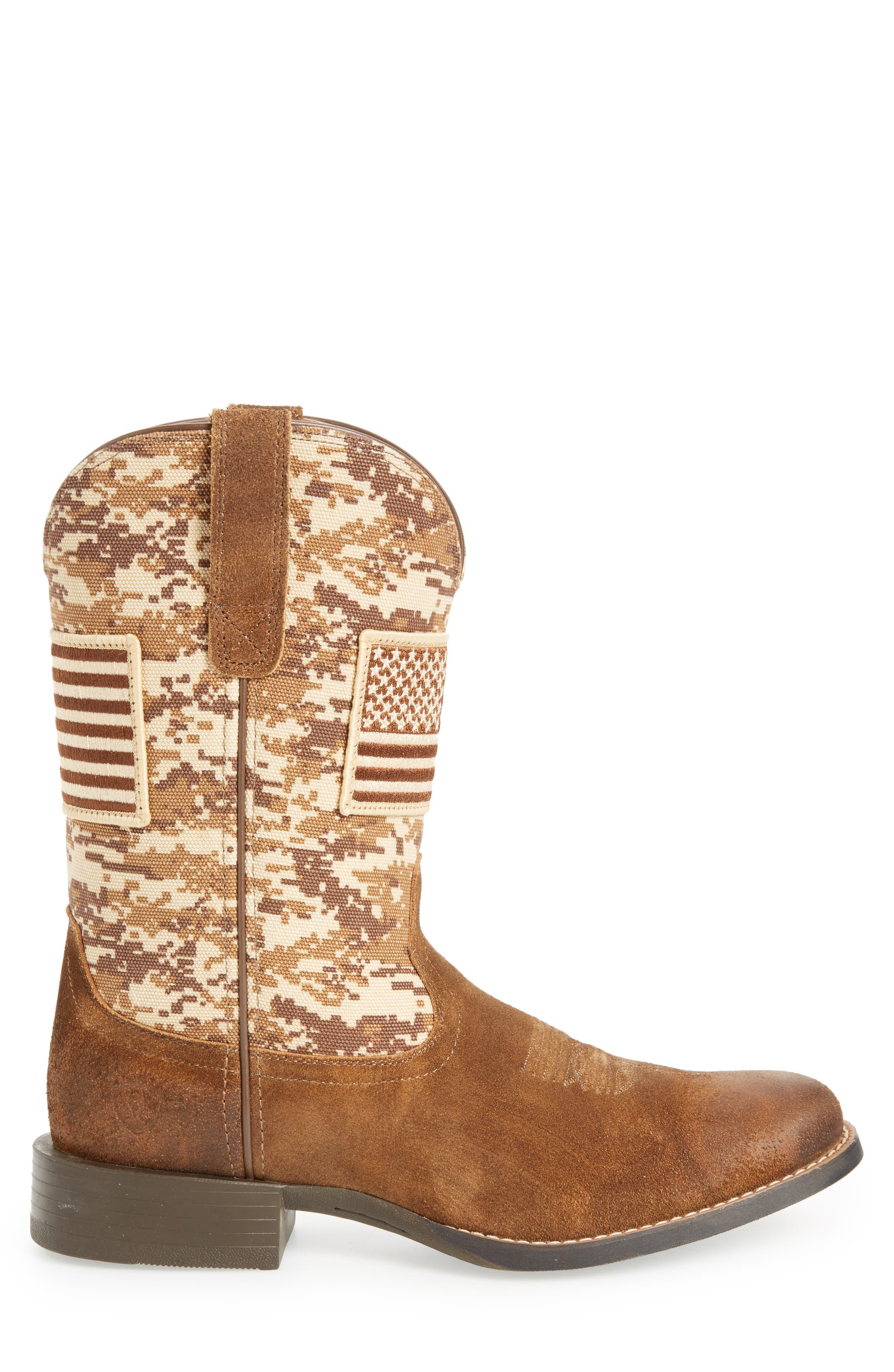 ARIAT, Sport Patriot Cowboy Boot, Alternate thumbnail 3, color, ANTIQUE MOCHA/ SAND LEATHER