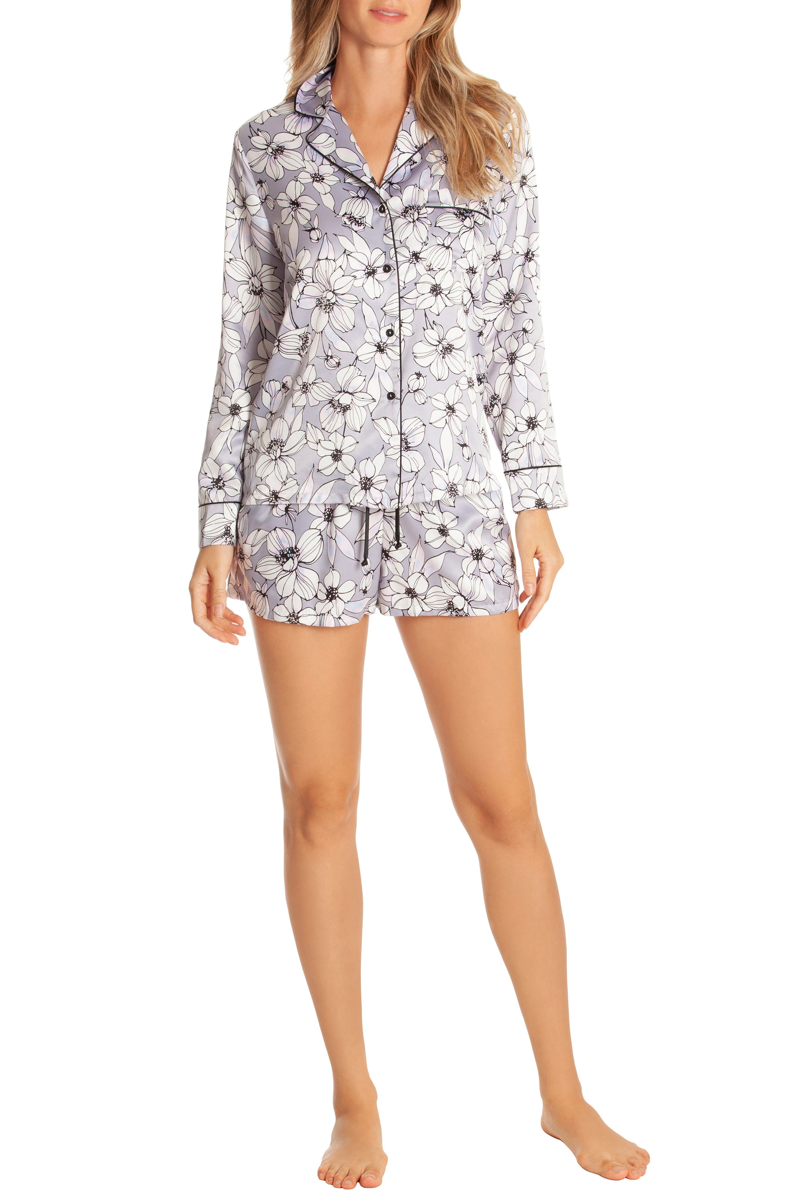 IN BLOOM BY JONQUIL, Look of Love Short Pajamas, Alternate thumbnail 5, color, GREY-RISA FLORAL