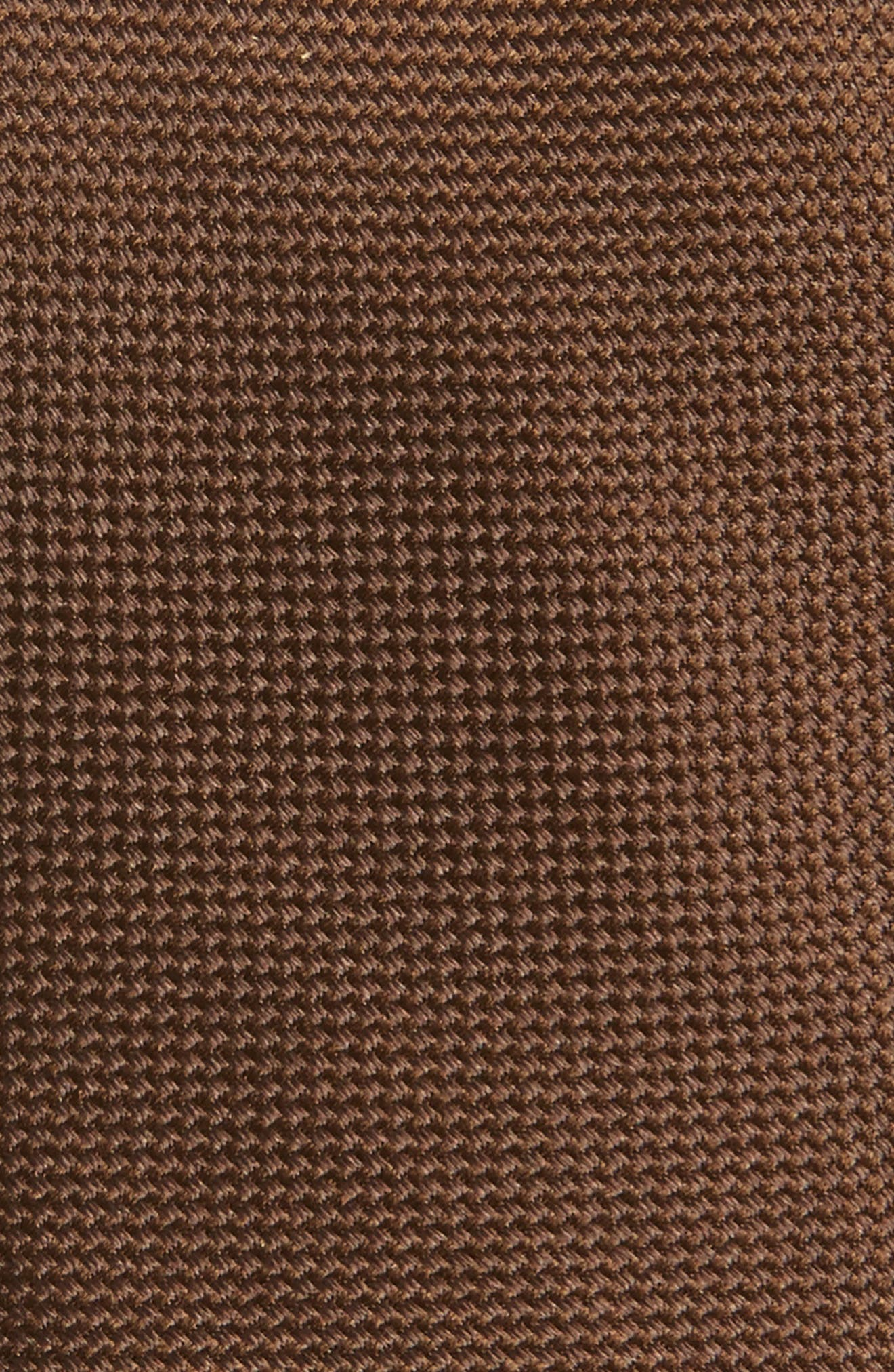THE TIE BAR, Woven Silk Tie, Alternate thumbnail 2, color, CHOCOLATE BROWN