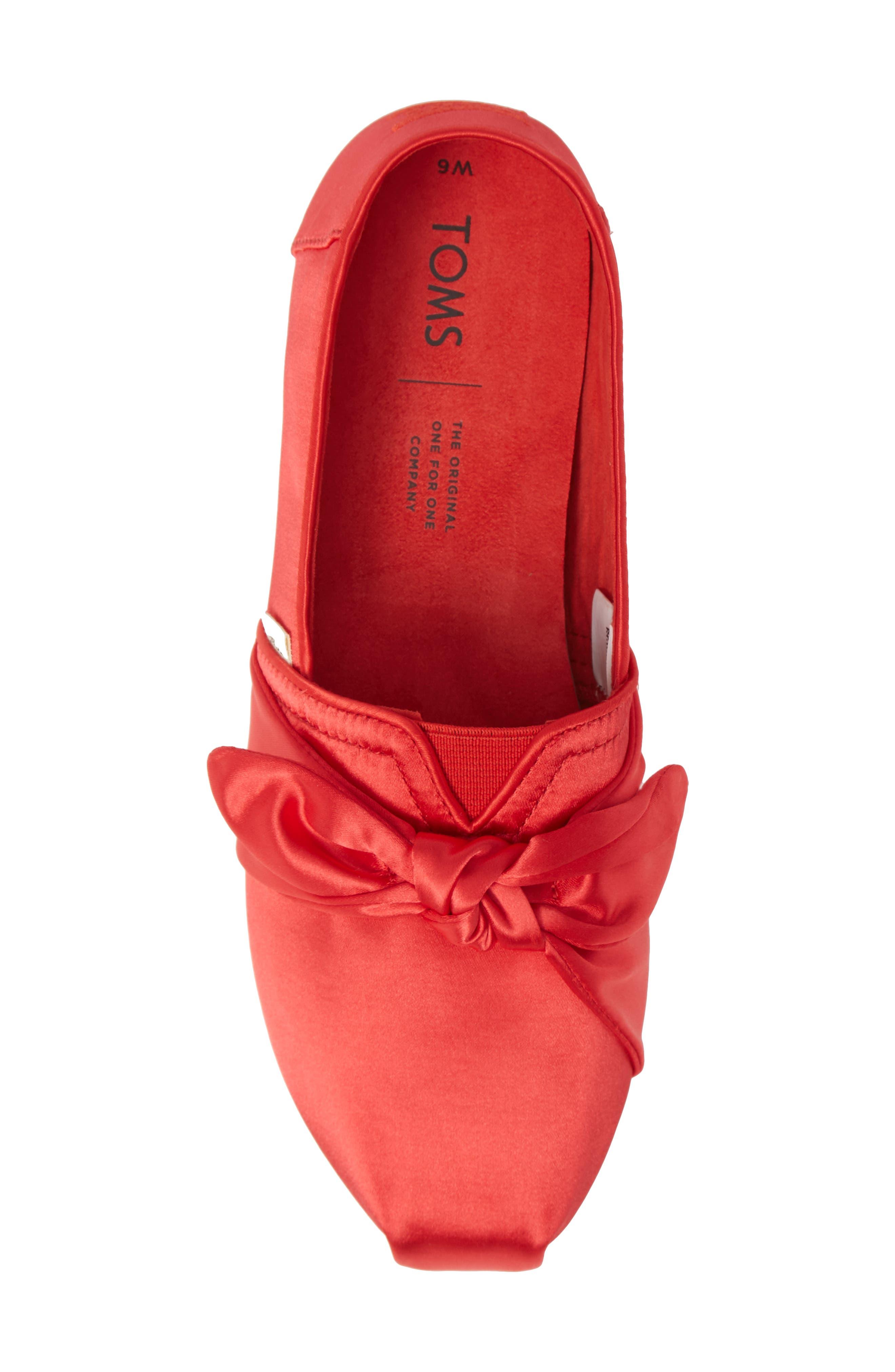 TOMS, Alpargata Bow Slip-On, Alternate thumbnail 5, color, RED LAVA FABRIC