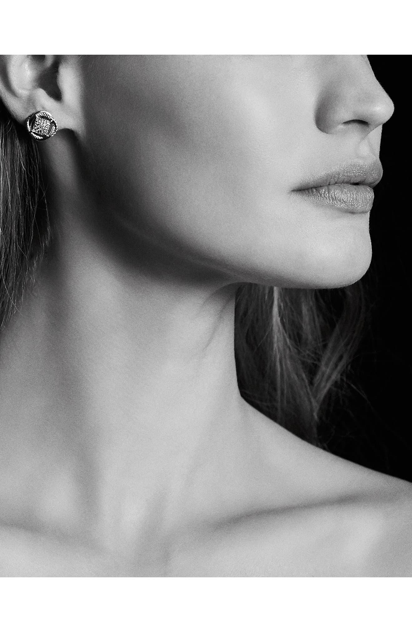 DAVID YURMAN, 'Infinity' Pavé Diamond Stud Earrings, Alternate thumbnail 2, color, DIAMOND