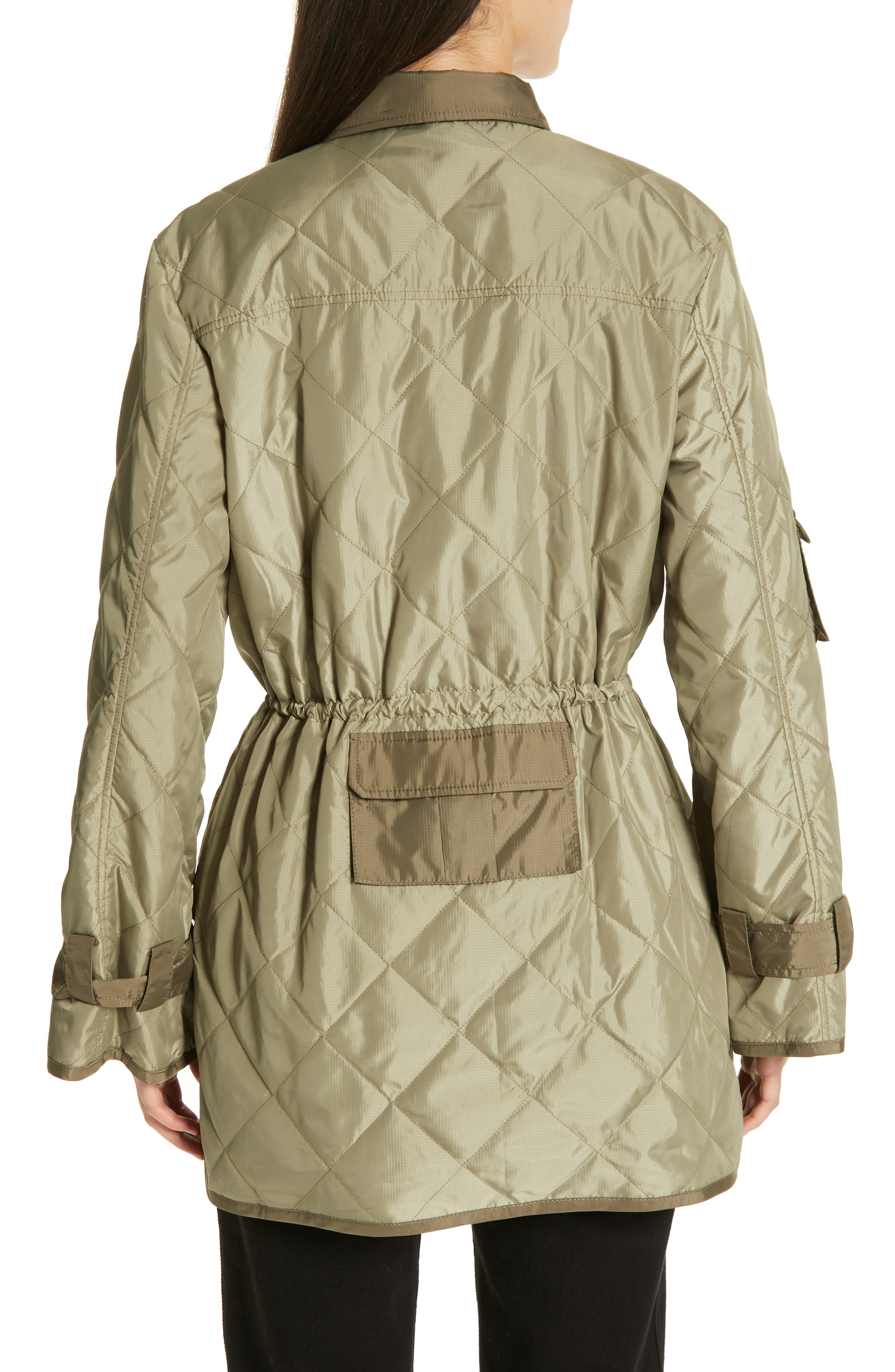GANNI, Quilted Ripstop Jacket, Alternate thumbnail 2, color, ALOE