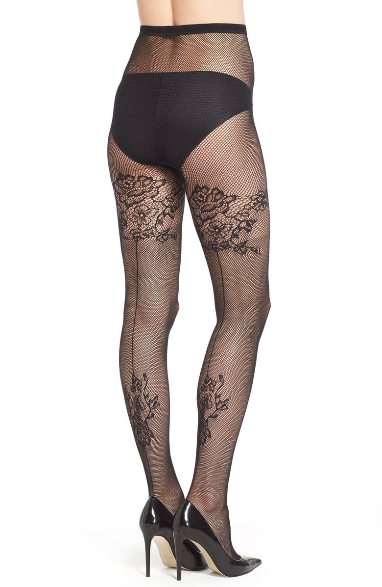 4597c9956 Pretty Polly Floral Pattern Back Seam Fishnet Tights