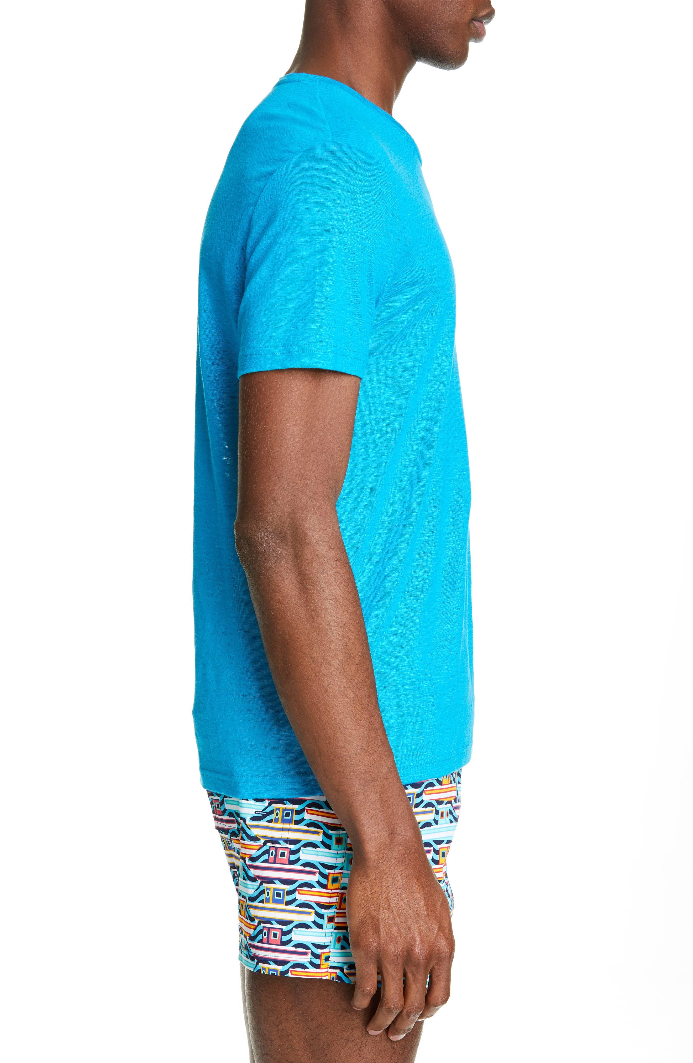 VILEBREQUIN, Linen Jersey T-Shirt, Alternate thumbnail 3, color, SEYCHELLES