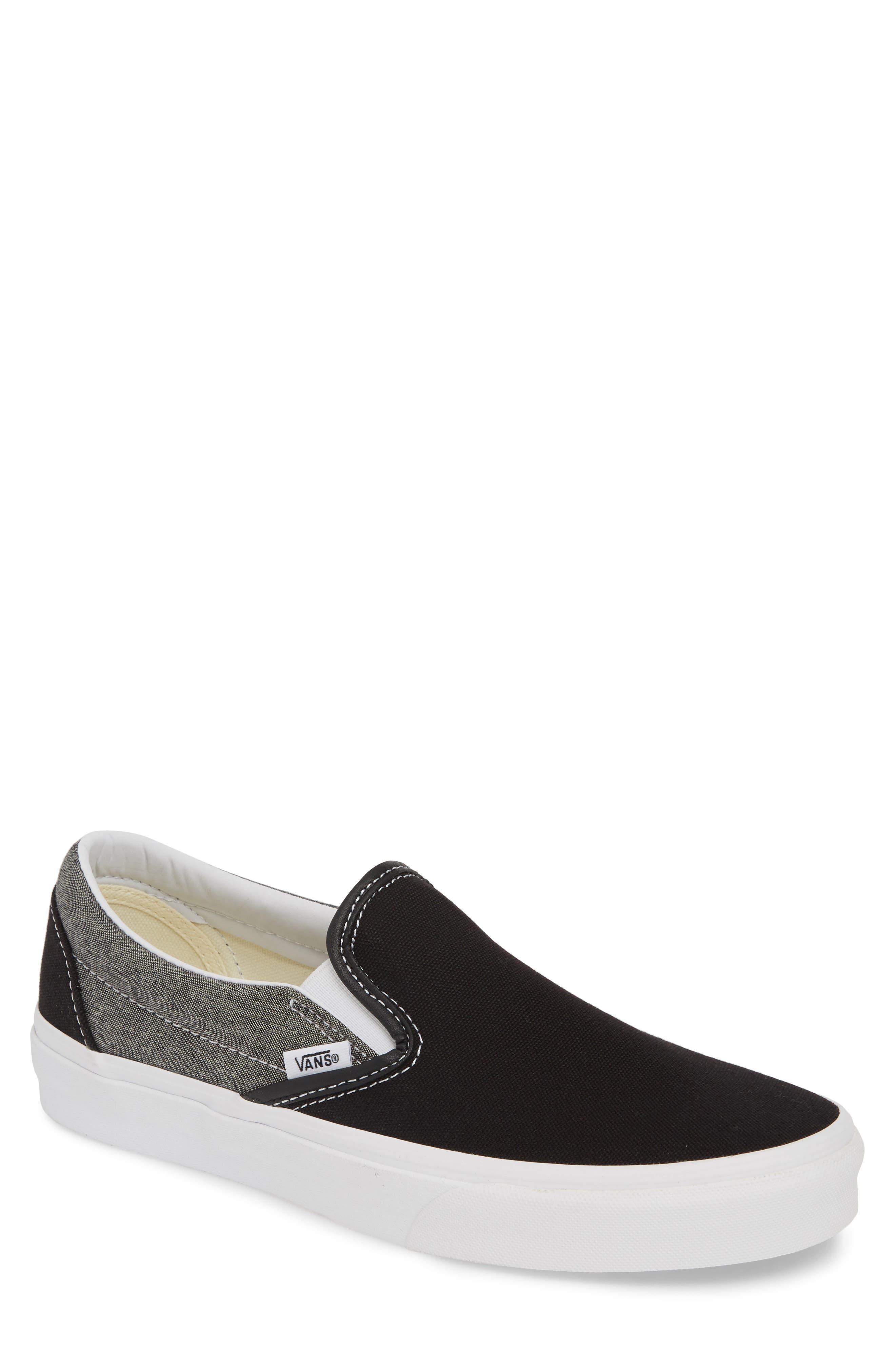 VANS, 'Classic' Slip-On Sneaker, Main thumbnail 1, color, CANVAS BLACK/ WHITE CHAMBRAY