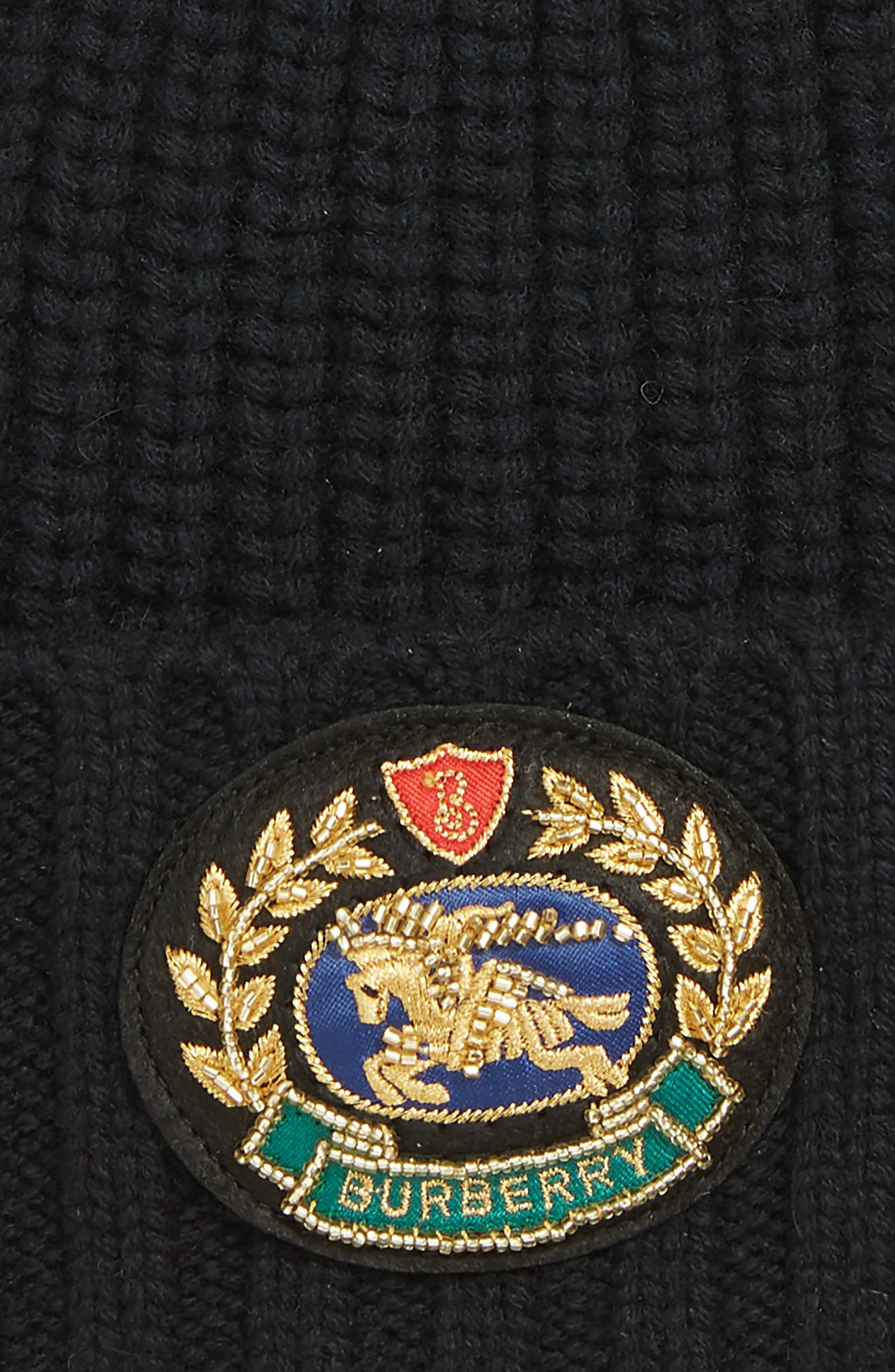 BURBERRY, Embroidered Crest Wool & Cashmere Beanie, Alternate thumbnail 2, color, BLACK